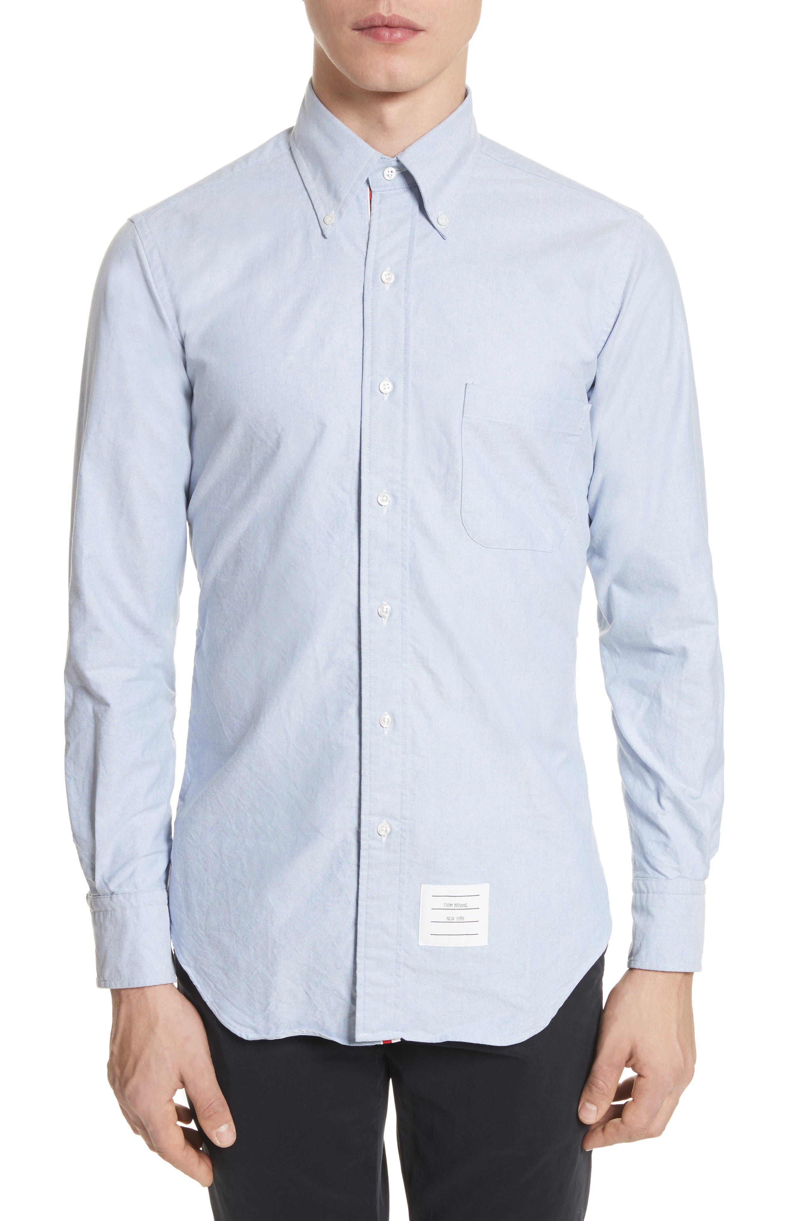 Extra Trim Fit Oxford Shirt with Grosgrain Trim,                         Main,                         color, Light Blue