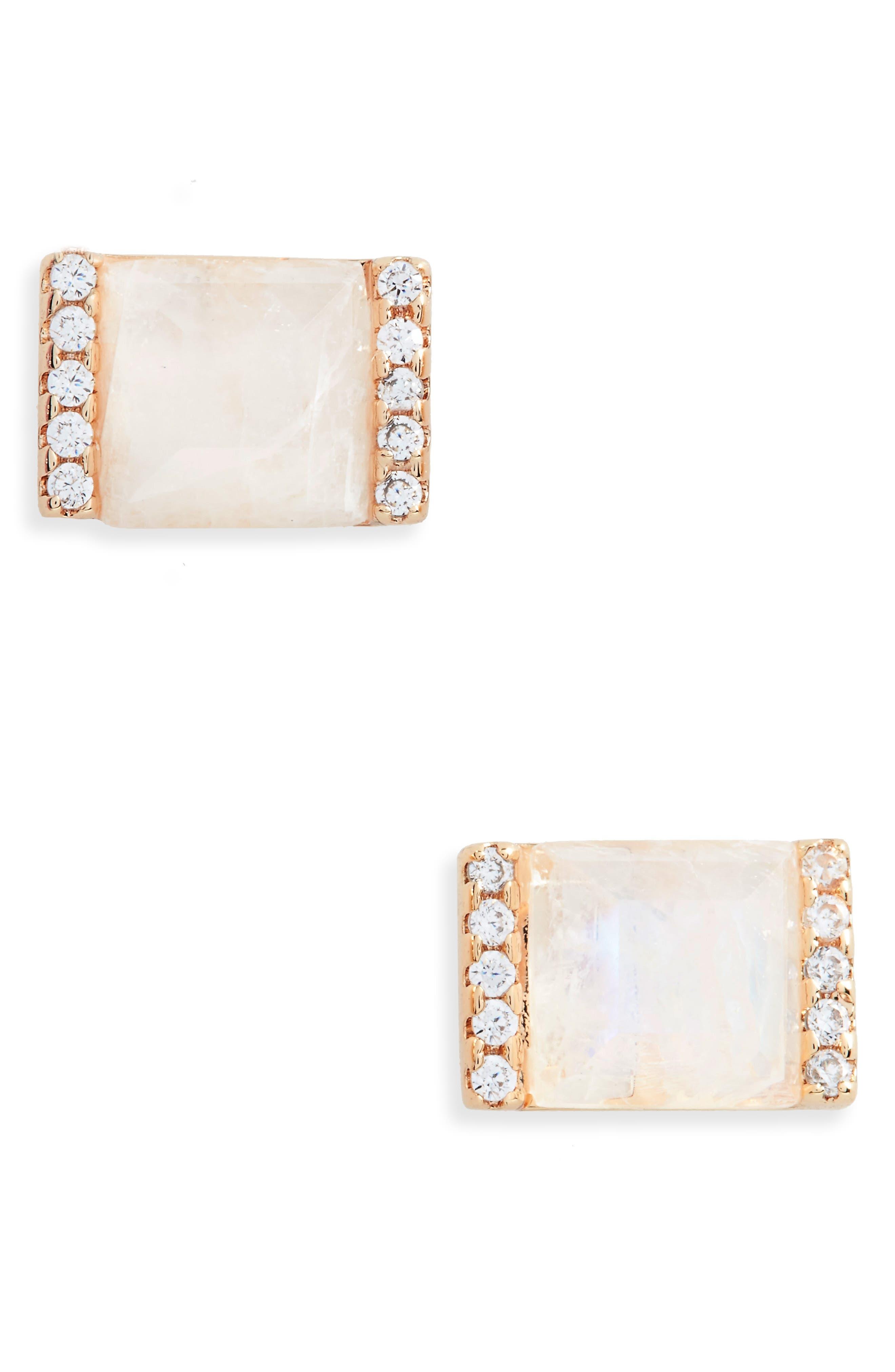 Vero Stud Earrings,                         Main,                         color, Moonstone/ Gold