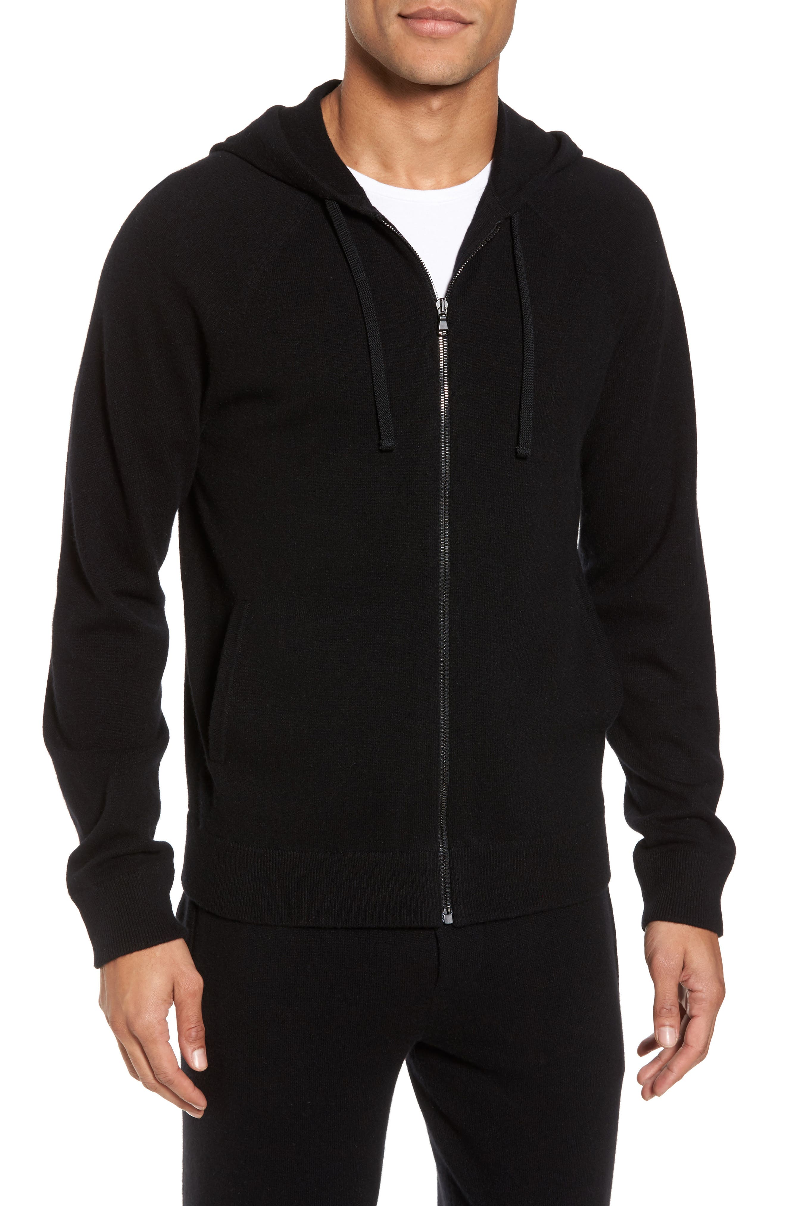 James Perse Classic Fit Cashmere Hooded Track Jacket