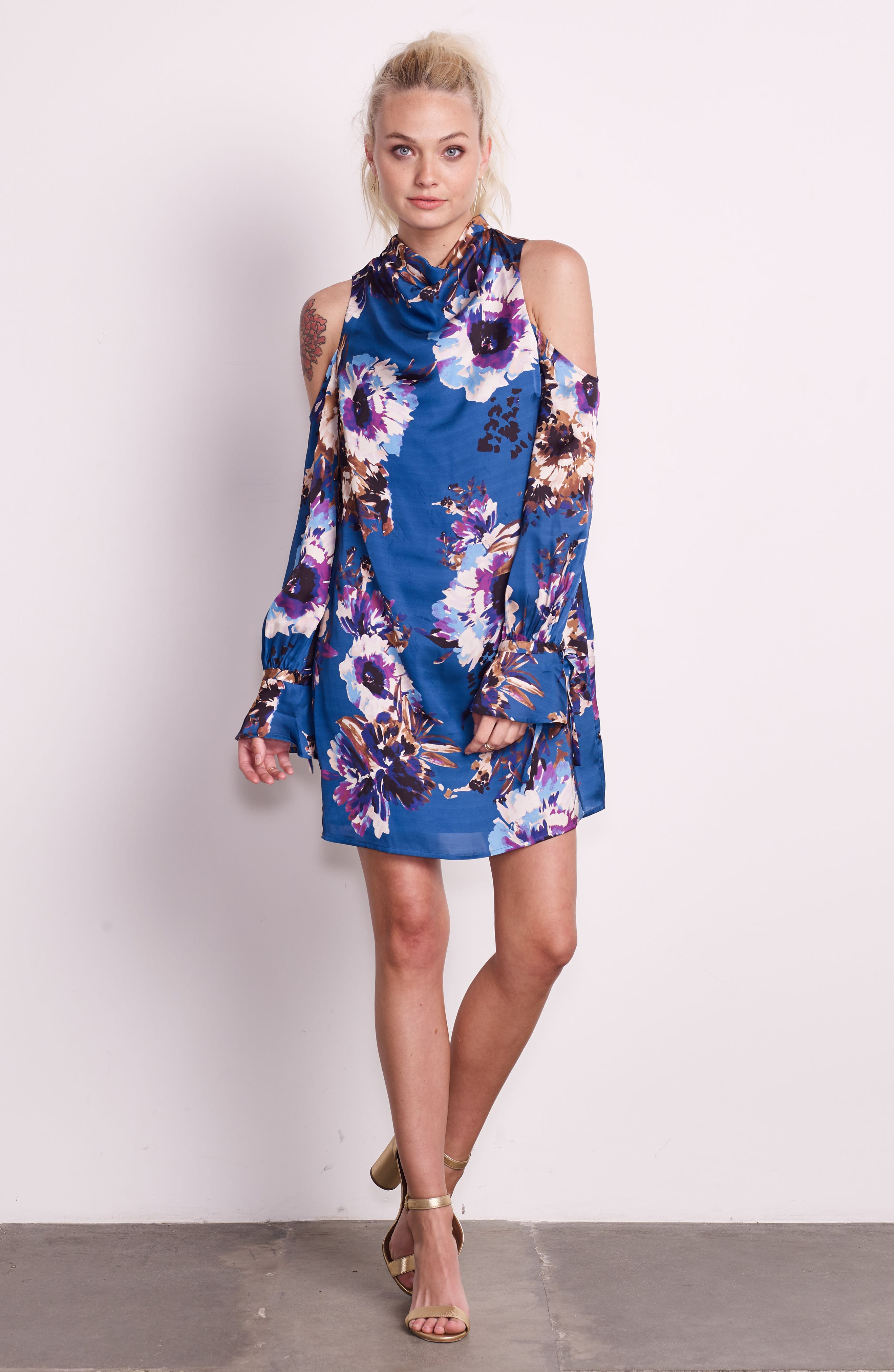 Woman in the Window Minidress,                             Alternate thumbnail 2, color,                             French Blue Floral Satin