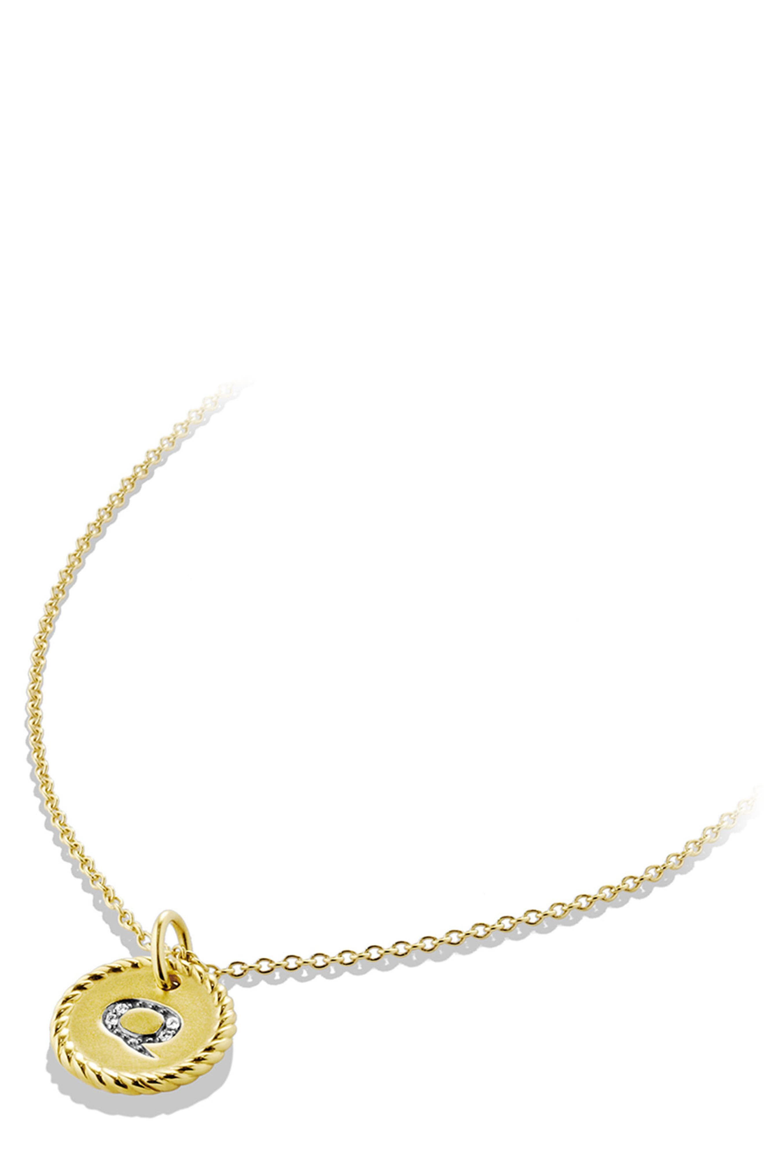 Initial Charm Necklace with Diamonds in 18K Gold,                             Alternate thumbnail 2, color,                             Z