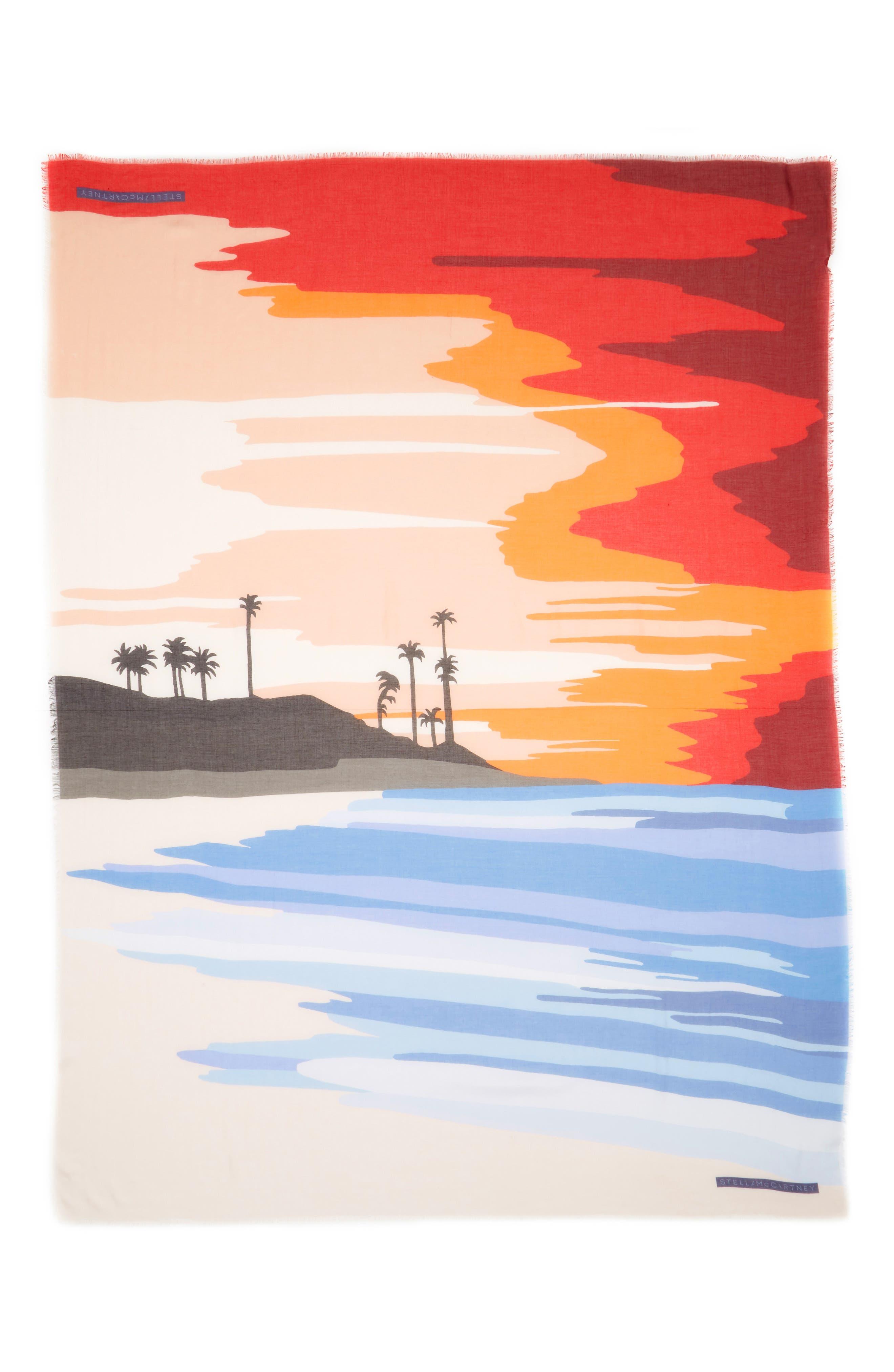 Tropical Sunset Print Scarf,                             Main thumbnail 1, color,                             Multicolor