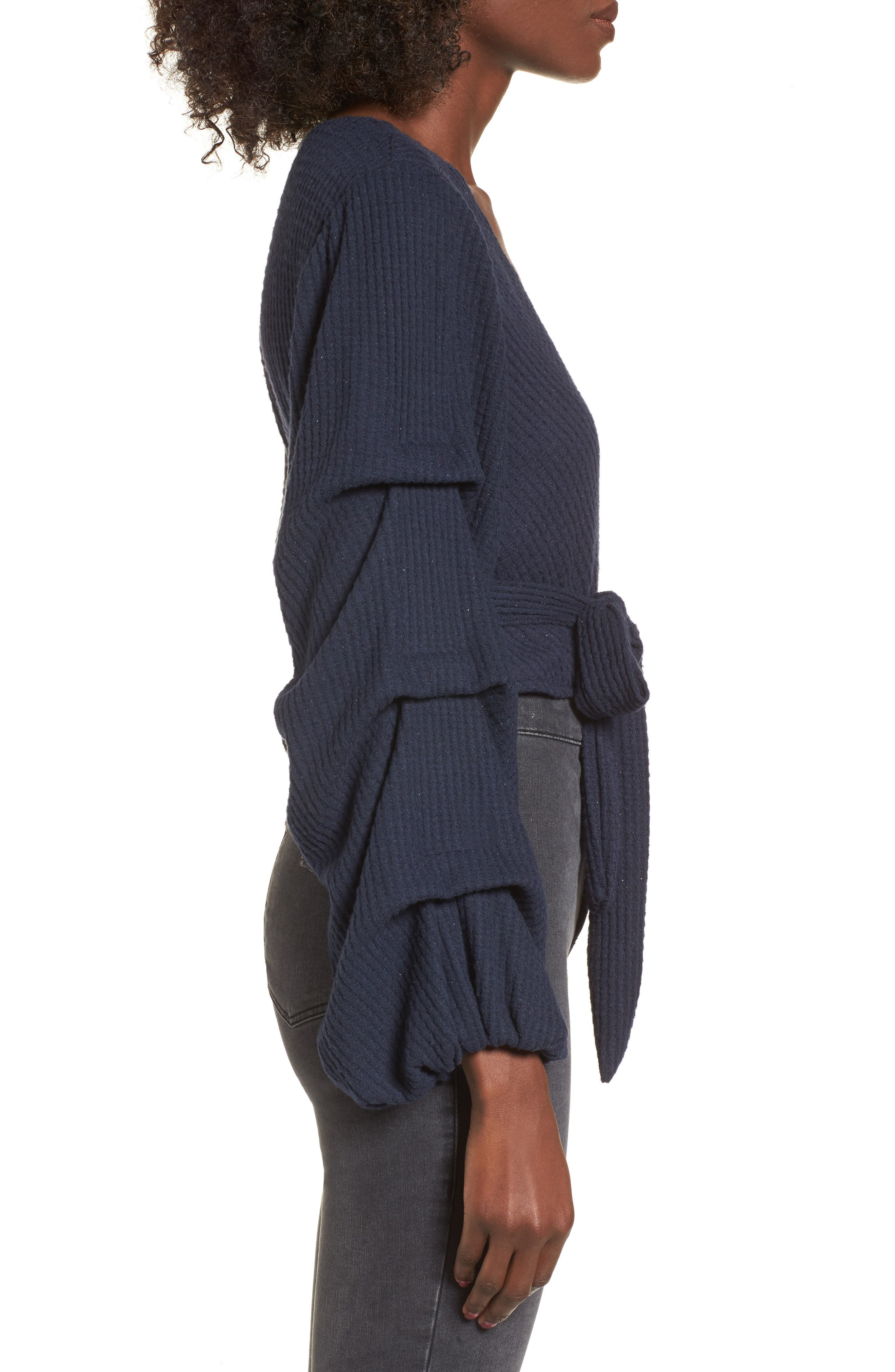 Wrap Sweater,                             Alternate thumbnail 3, color,                             Navy