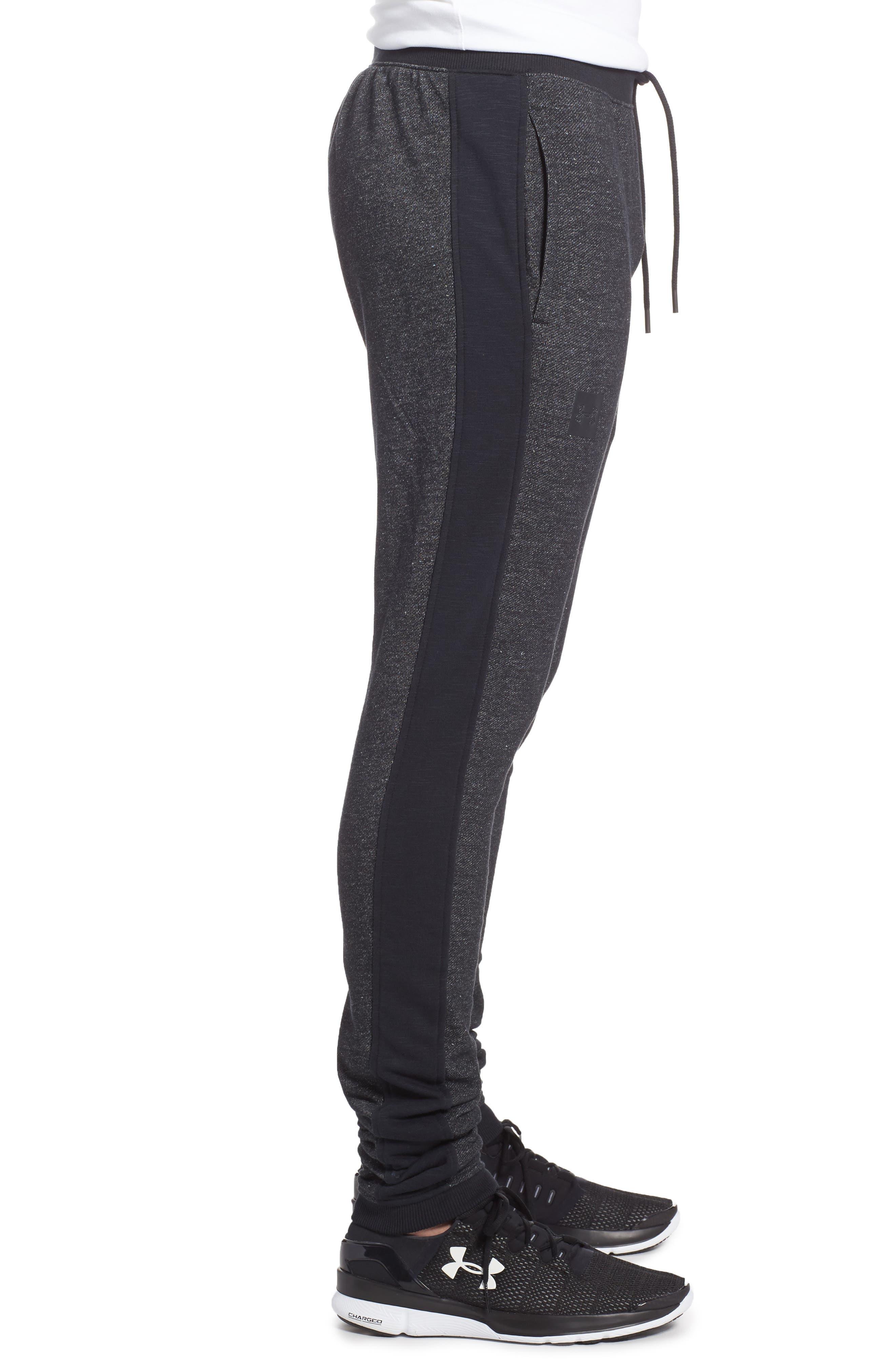 Sportstyle Fitted Fleece Leggings,                             Alternate thumbnail 3, color,                             Black
