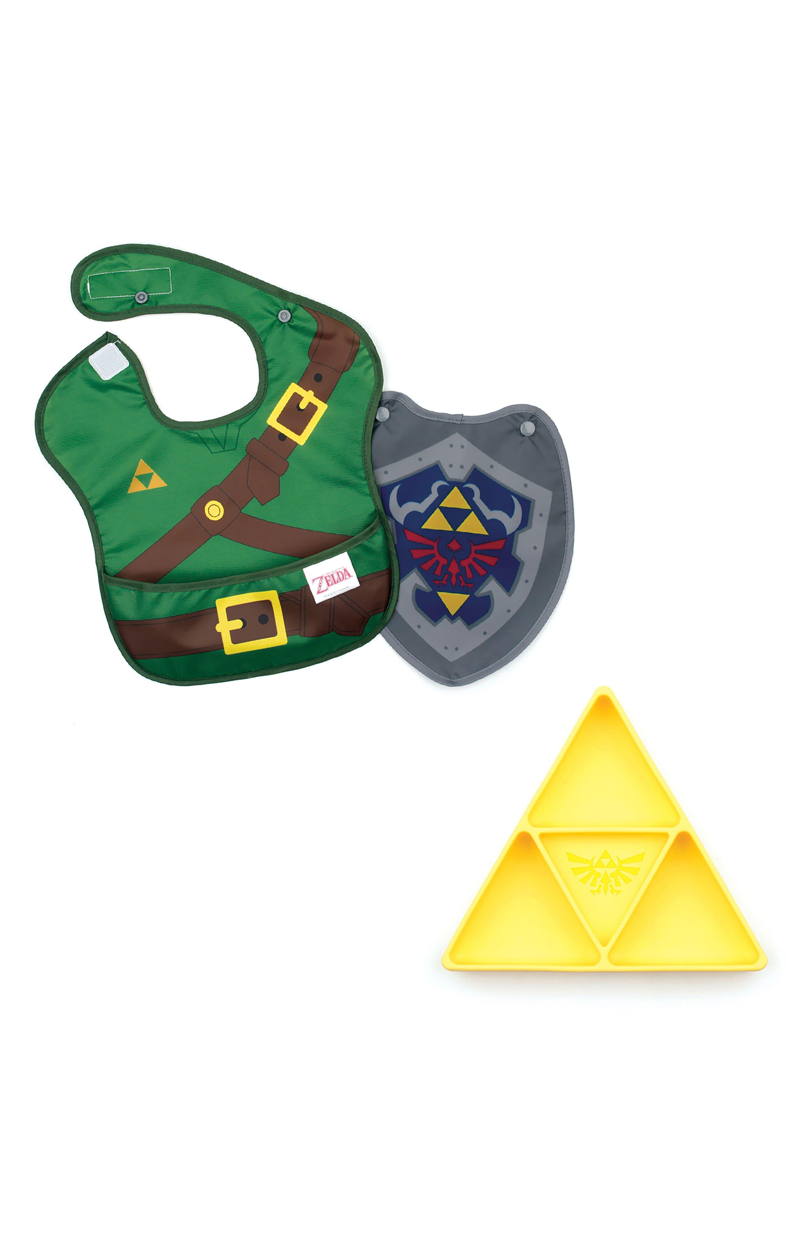 Main Image - Bumkins The Legend of Zelda Grip Dish & Caped SuperBib Set (Baby Boys)