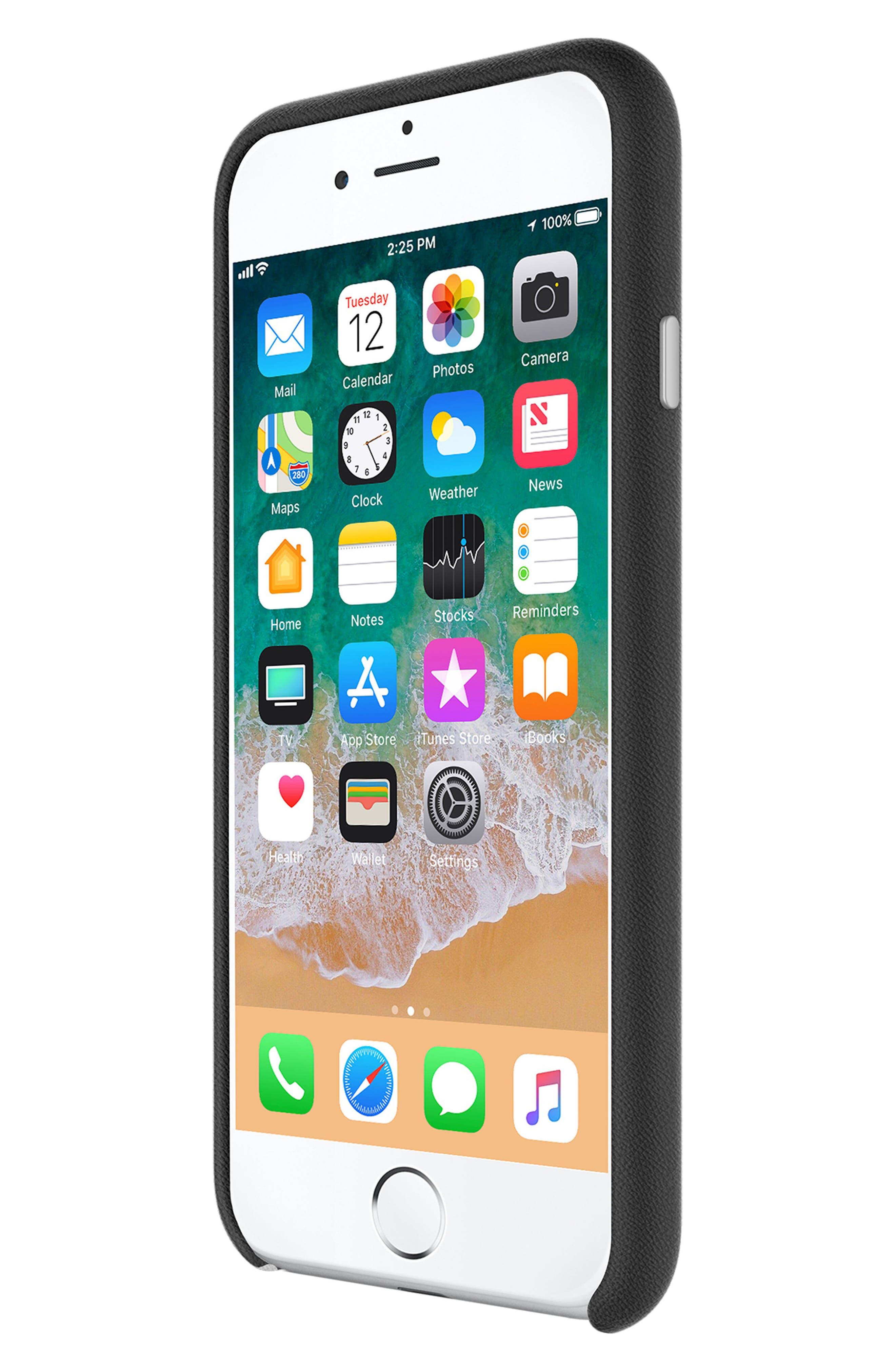 Leather Wrap iPhone 8 Case,                             Alternate thumbnail 4, color,                             Black