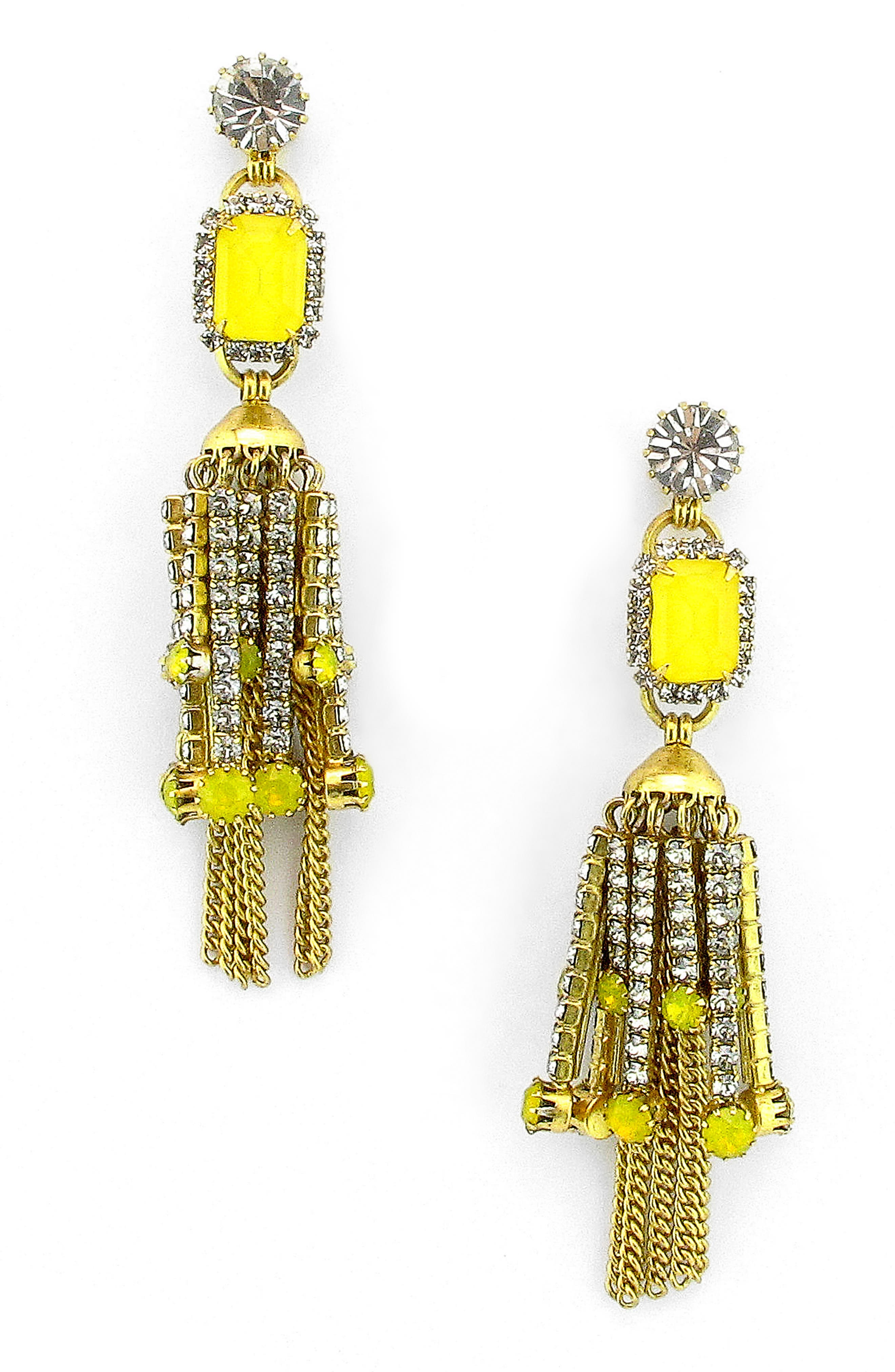 Sutton Crystal Drop Earrings,                         Main,                         color, Yellow