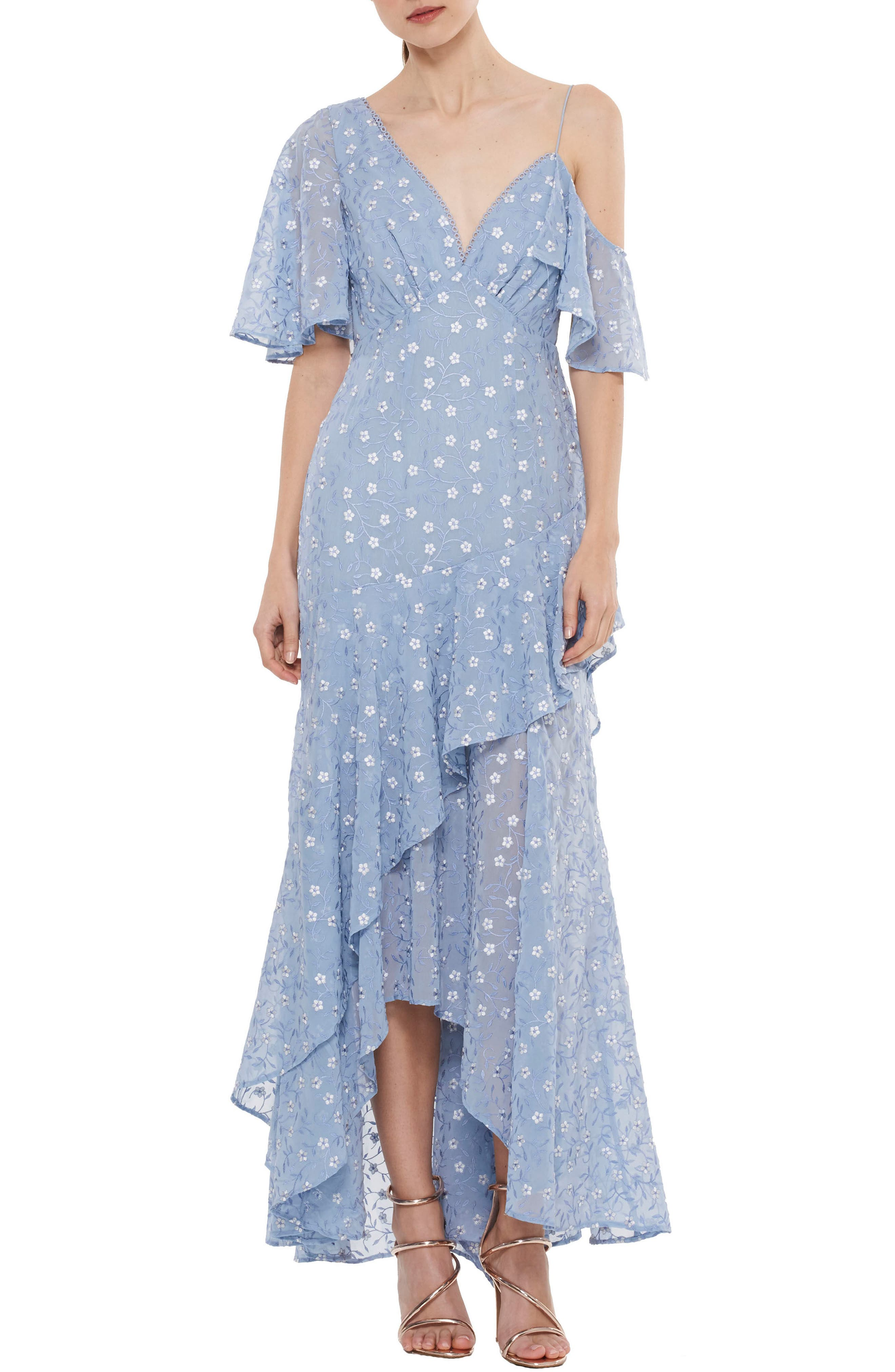 Ardency Asymmetrical Embroidered Gown,                         Main,                         color, Powder Blue