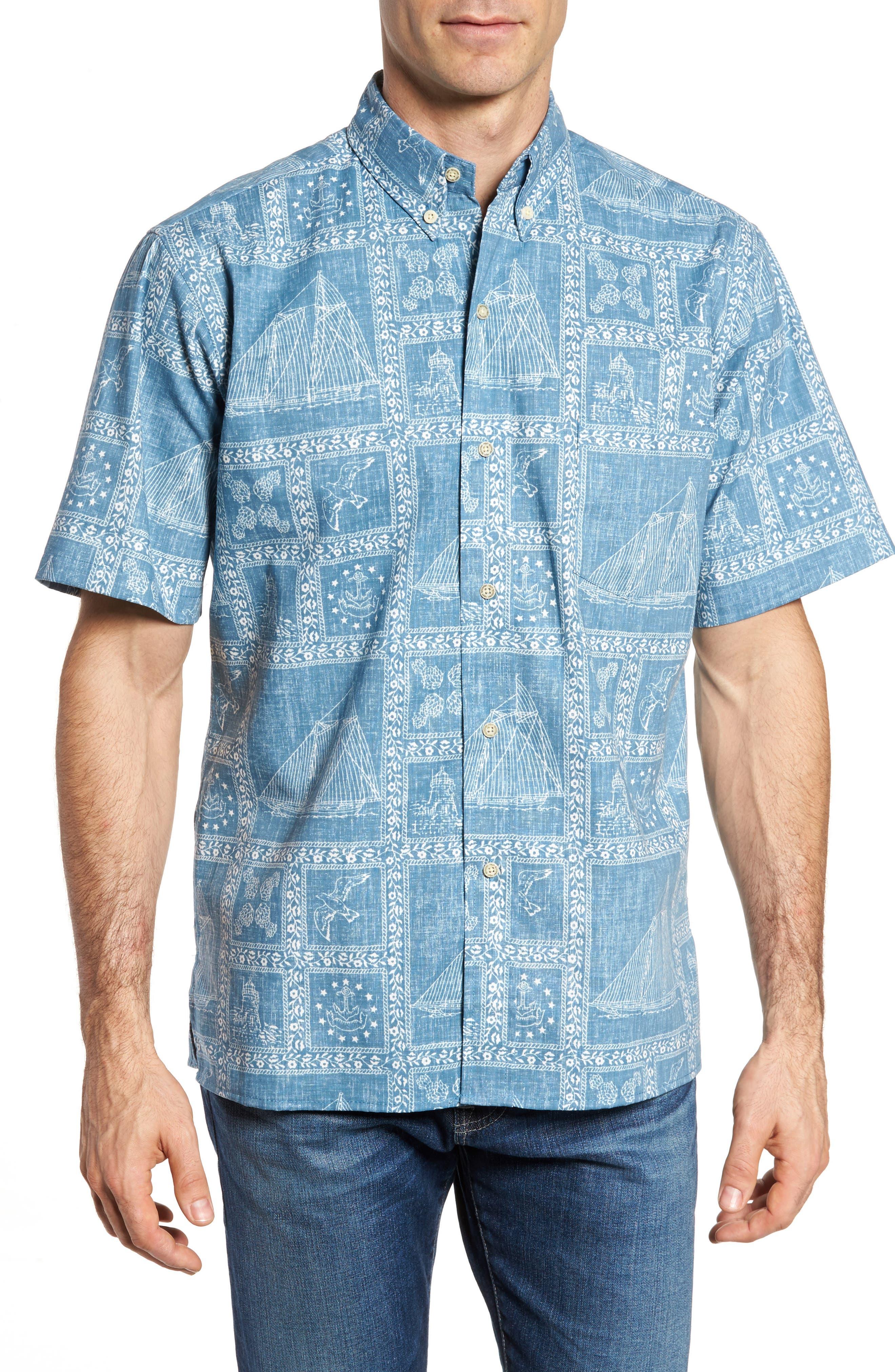 Newport Sailor Classic Fit Print Sport Shirt,                             Main thumbnail 1, color,                             Denim