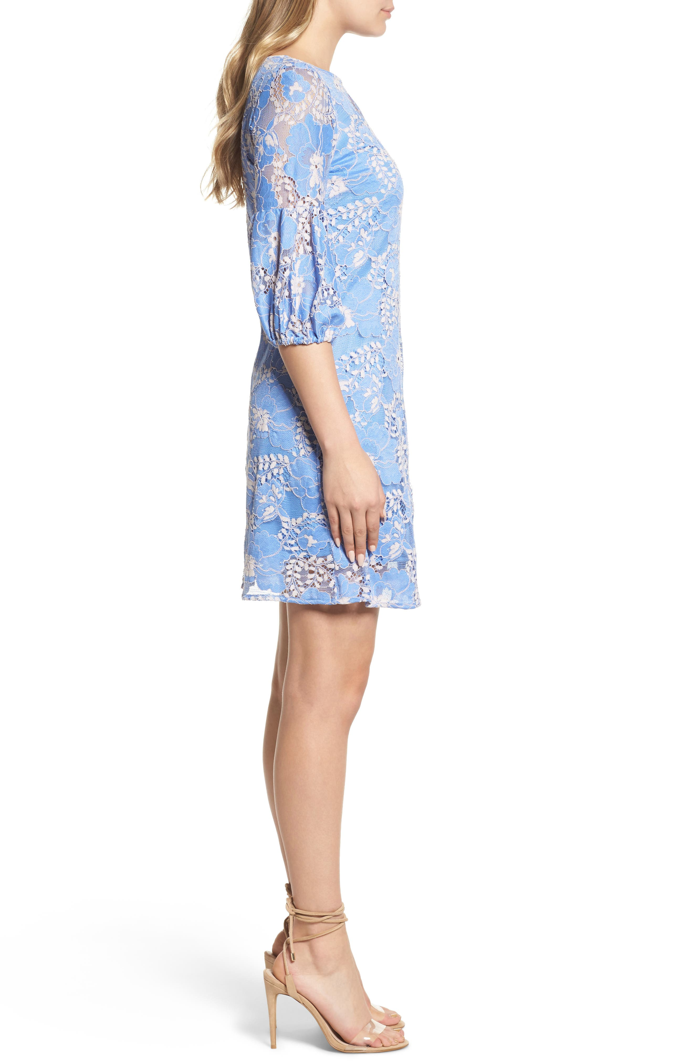 Lace Shift Dress,                             Alternate thumbnail 3, color,                             Blue/ Blush
