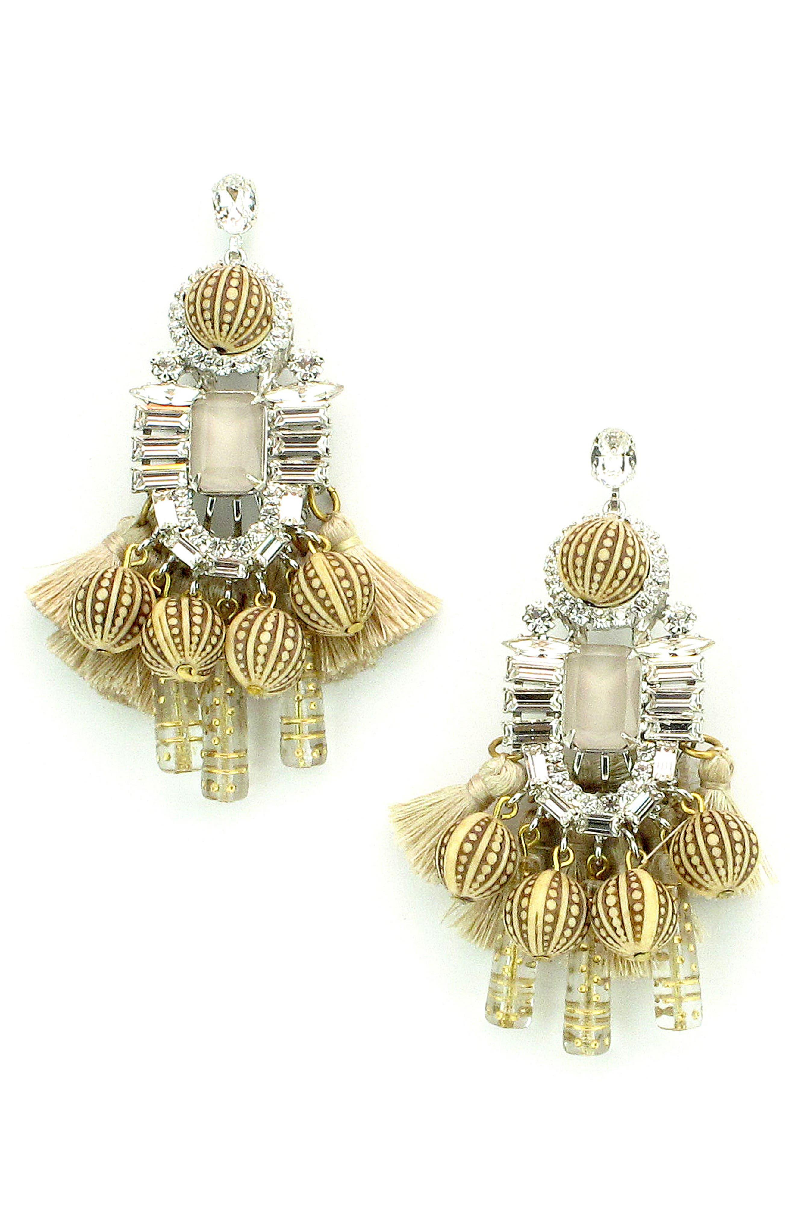Olette Crystal Drop Earrings,                             Main thumbnail 1, color,                             Nude