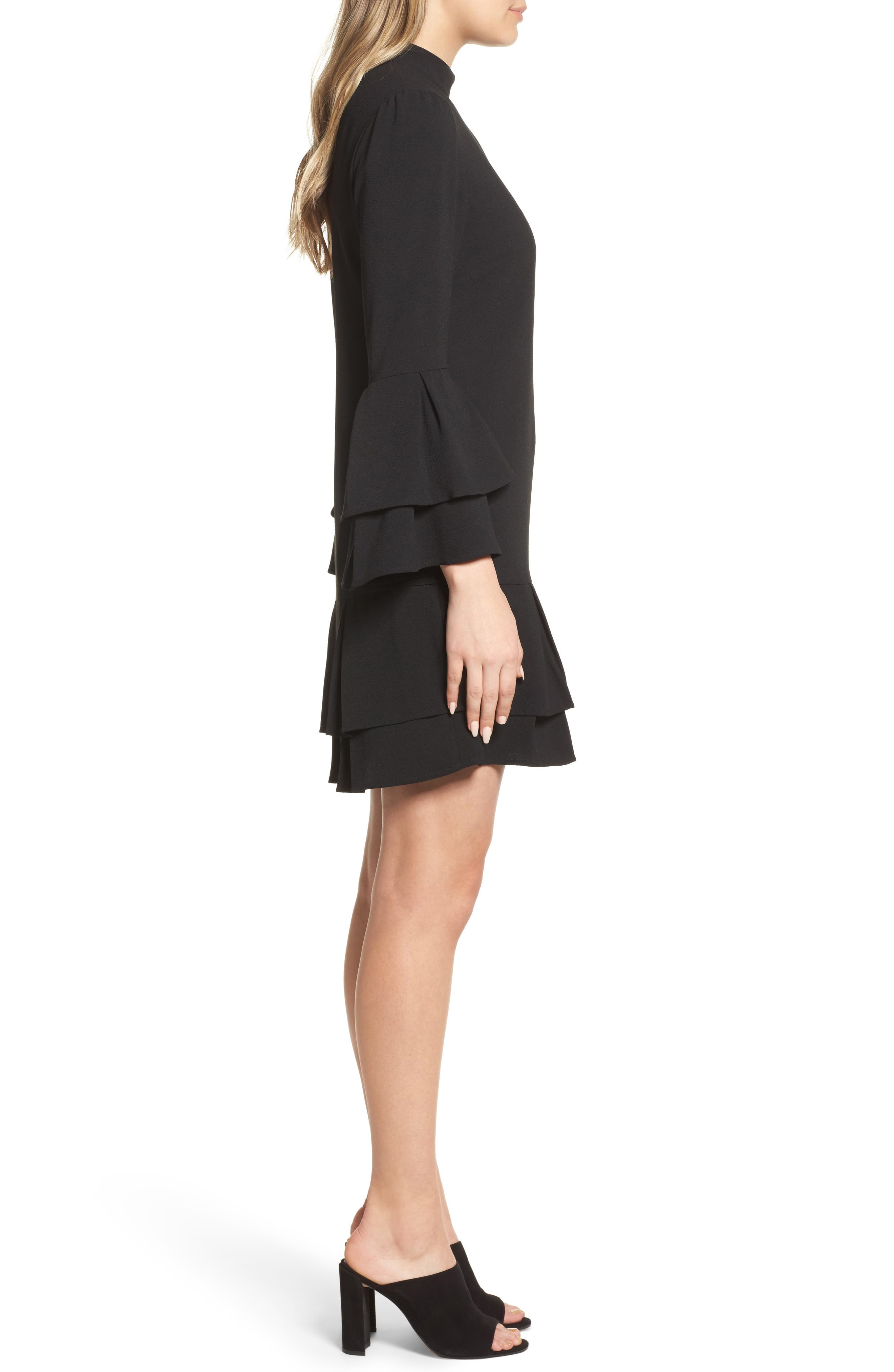 Tiered Sleeve Shift Dress,                             Alternate thumbnail 3, color,                             Black