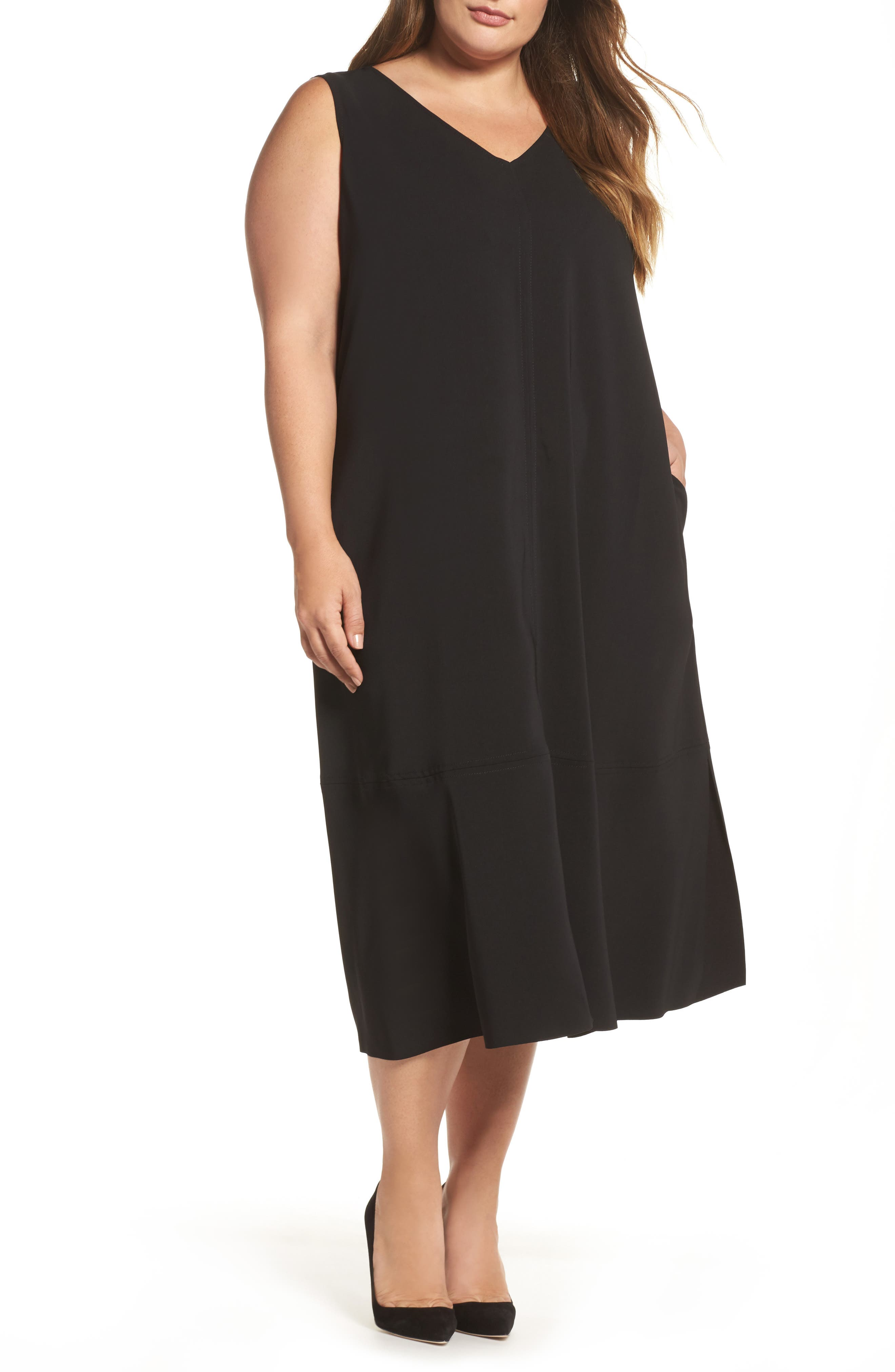 Donna Sleeveless Maxi Dress,                         Main,                         color, Black