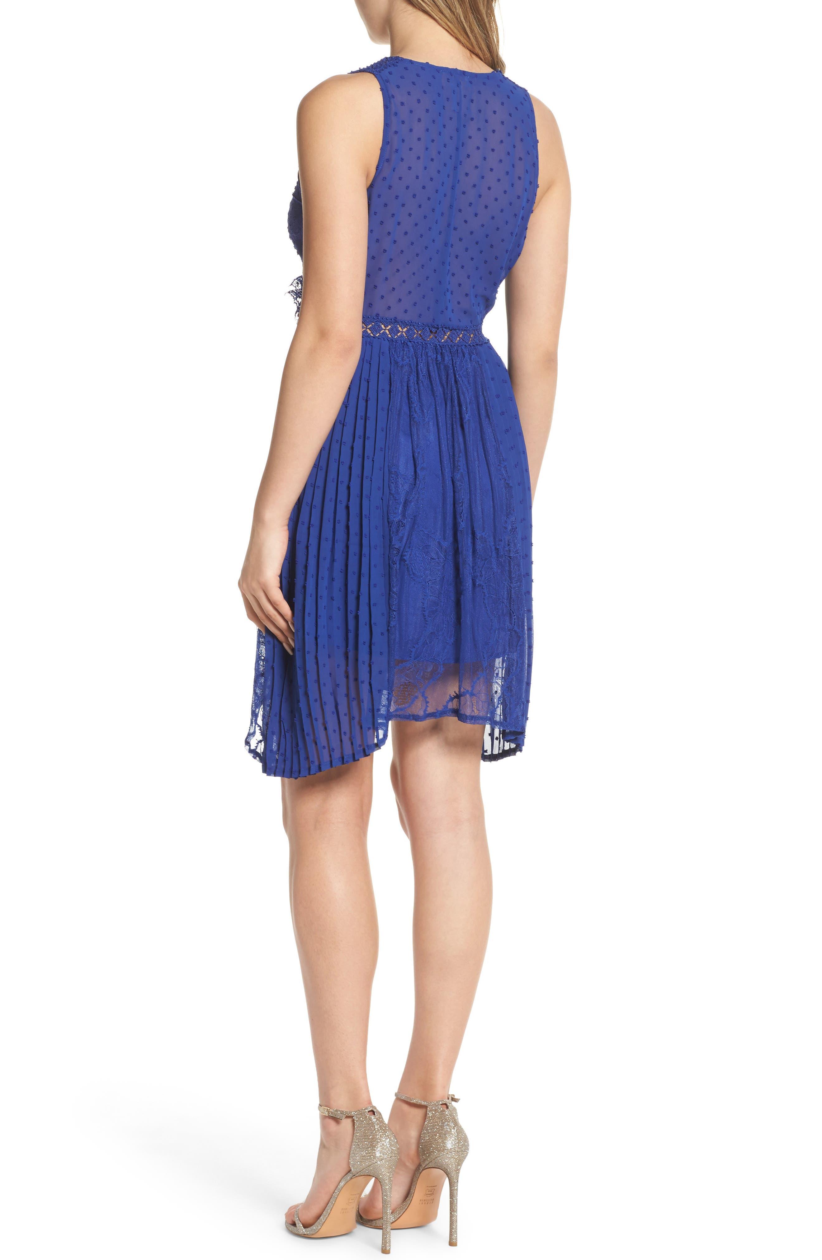 Babette Lace Inset Party Dress,                             Alternate thumbnail 2, color,                             Navy