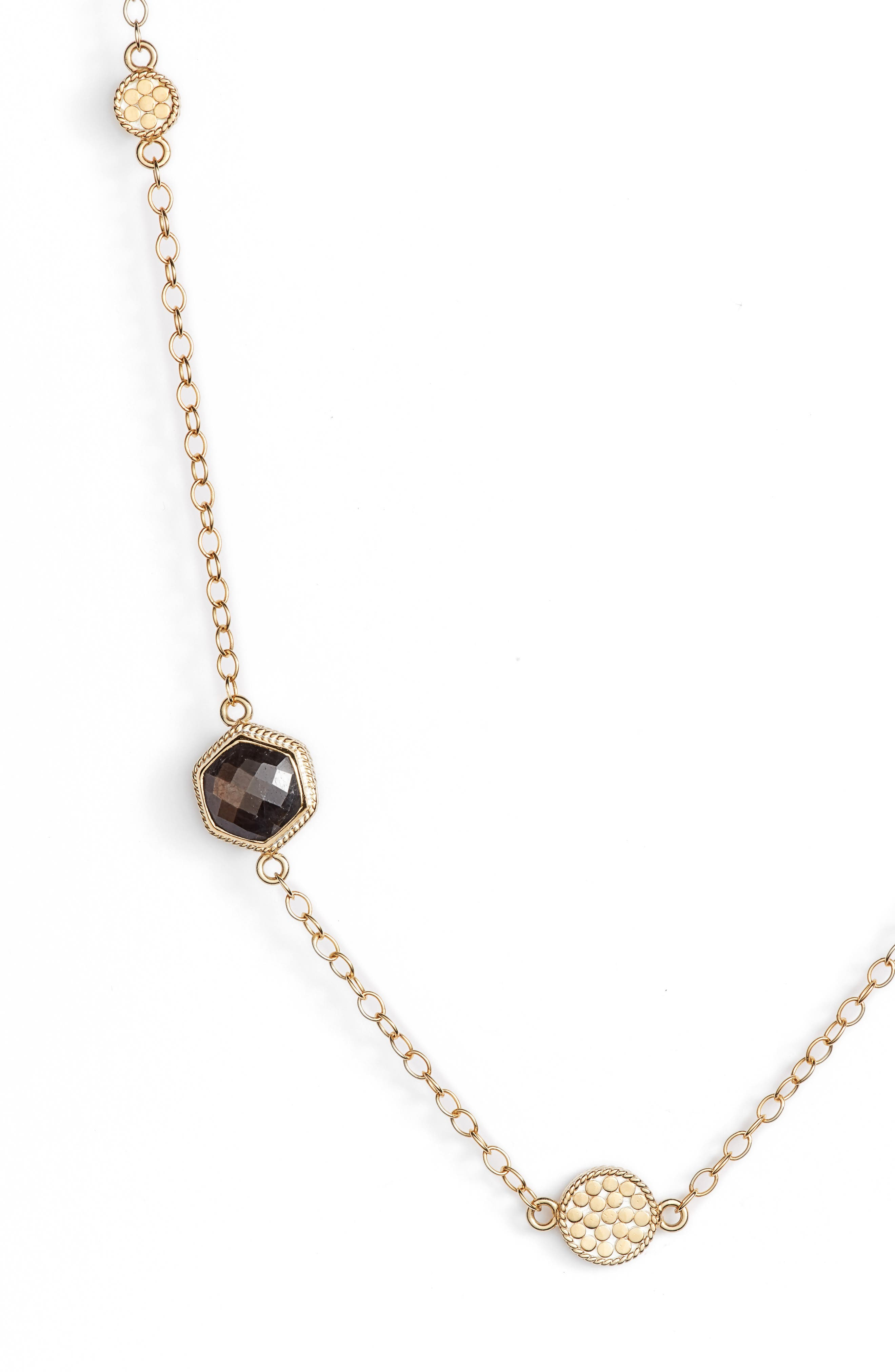 Grey Sapphire & Pyrite Long Station Necklace,                             Alternate thumbnail 2, color,                             Gold/ Silver/ Grey/ Pyrite