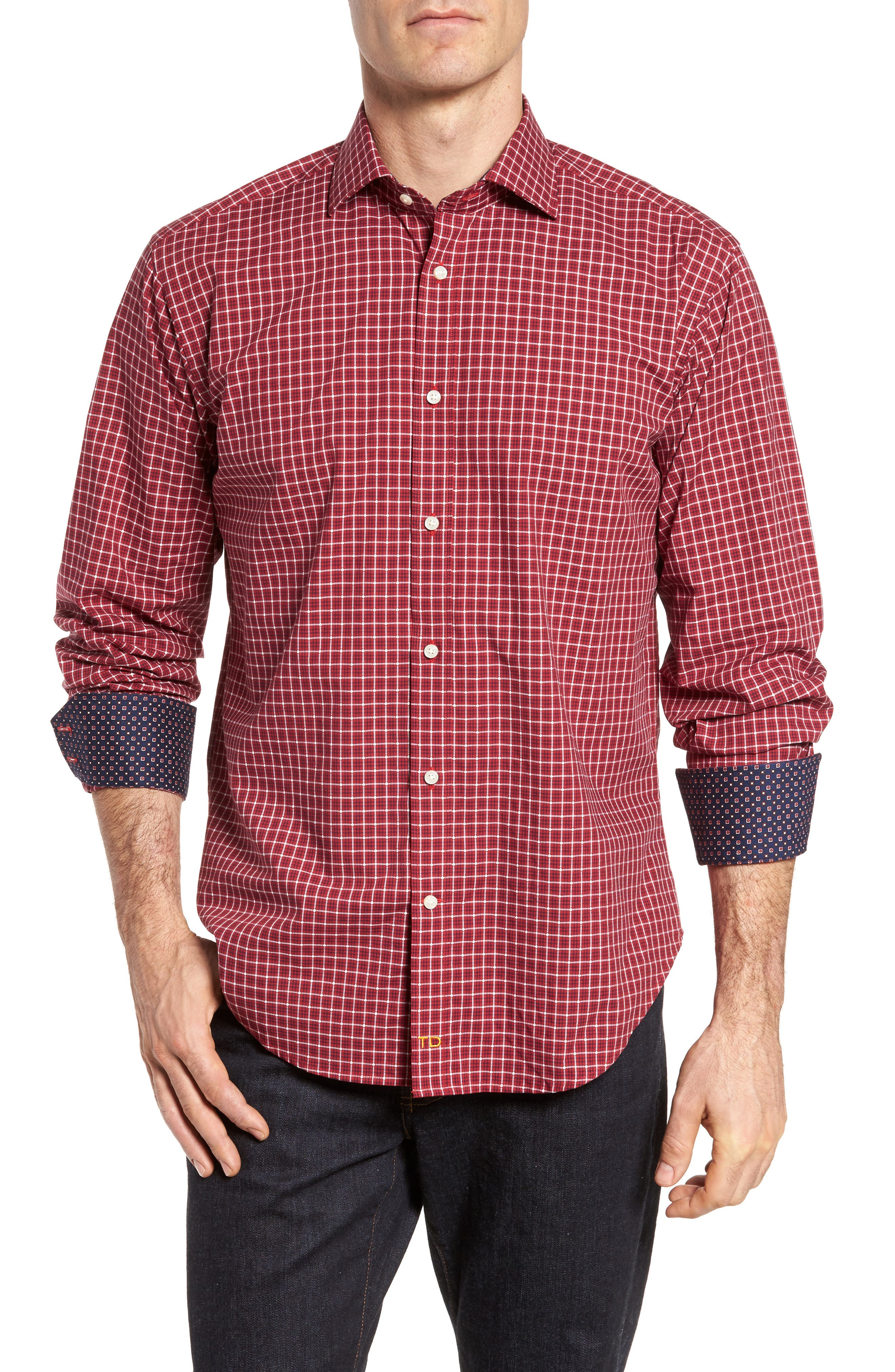 Regular Fit Plaid Sport Shirt,                             Main thumbnail 1, color,                             Red