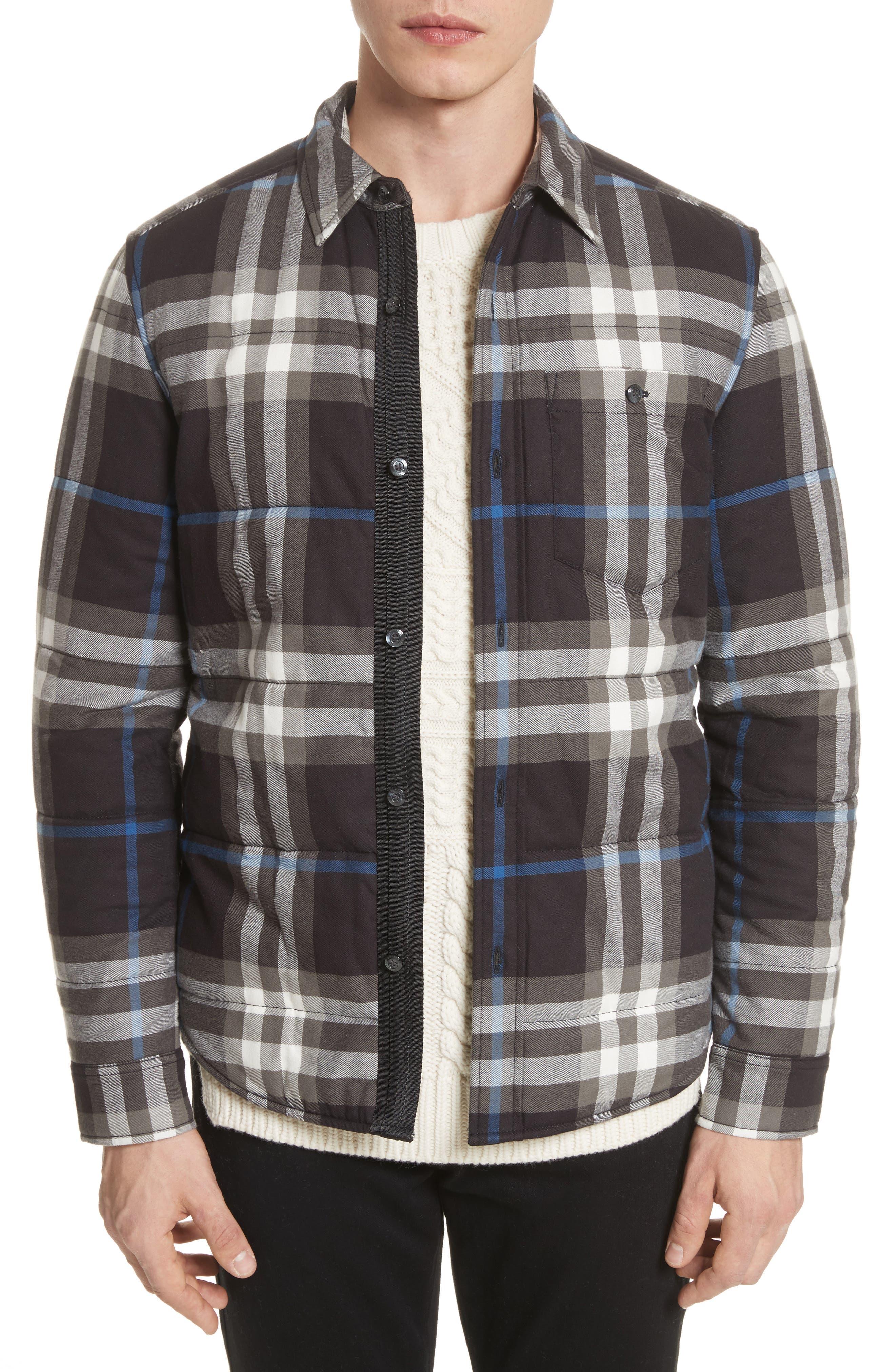 Walsden Plaid Flannel Shirt Jacket,                             Main thumbnail 1, color,                             Black