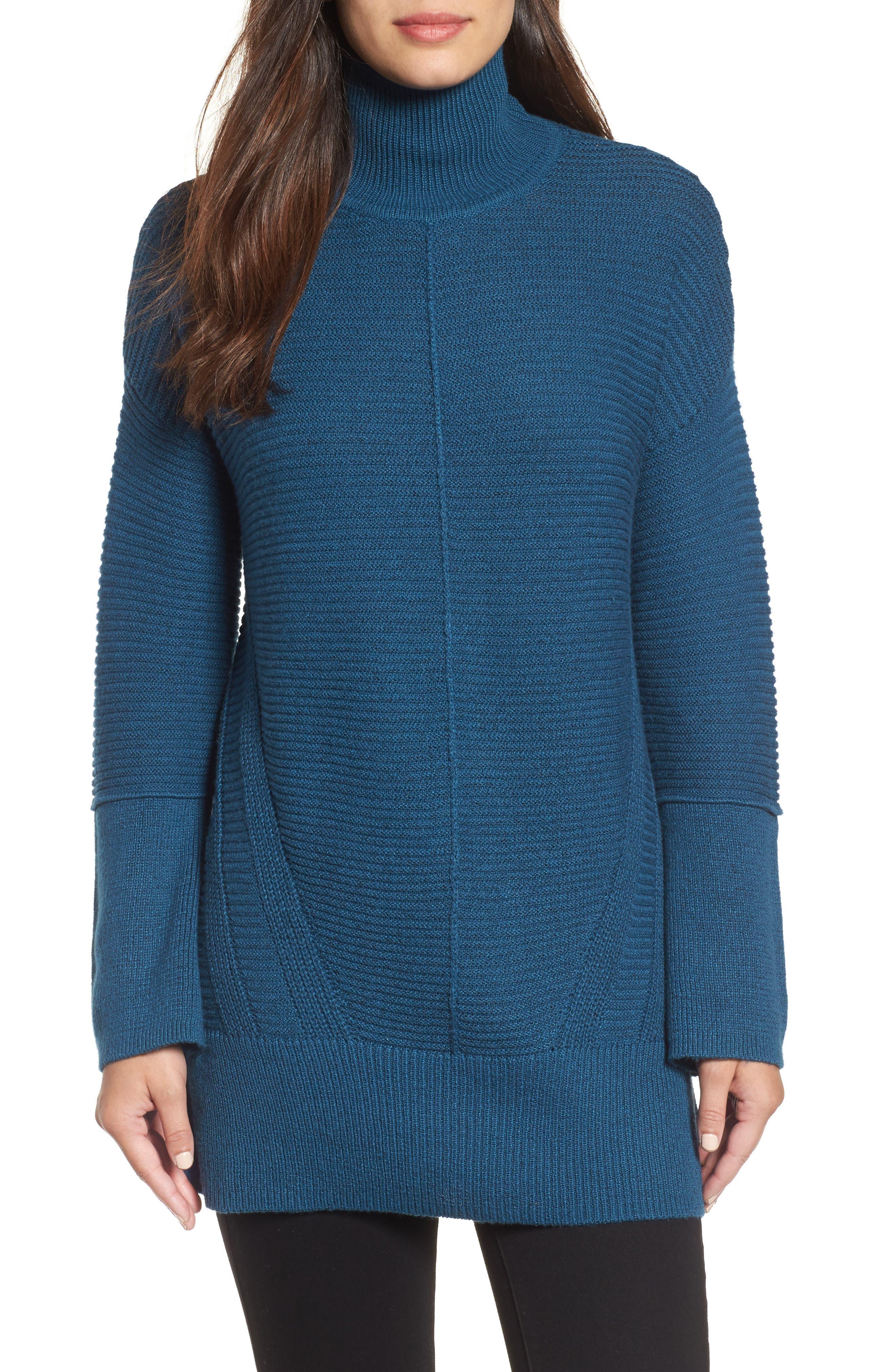 Main Image - Caslon® Ribbed Turtleneck Tunic Sweater