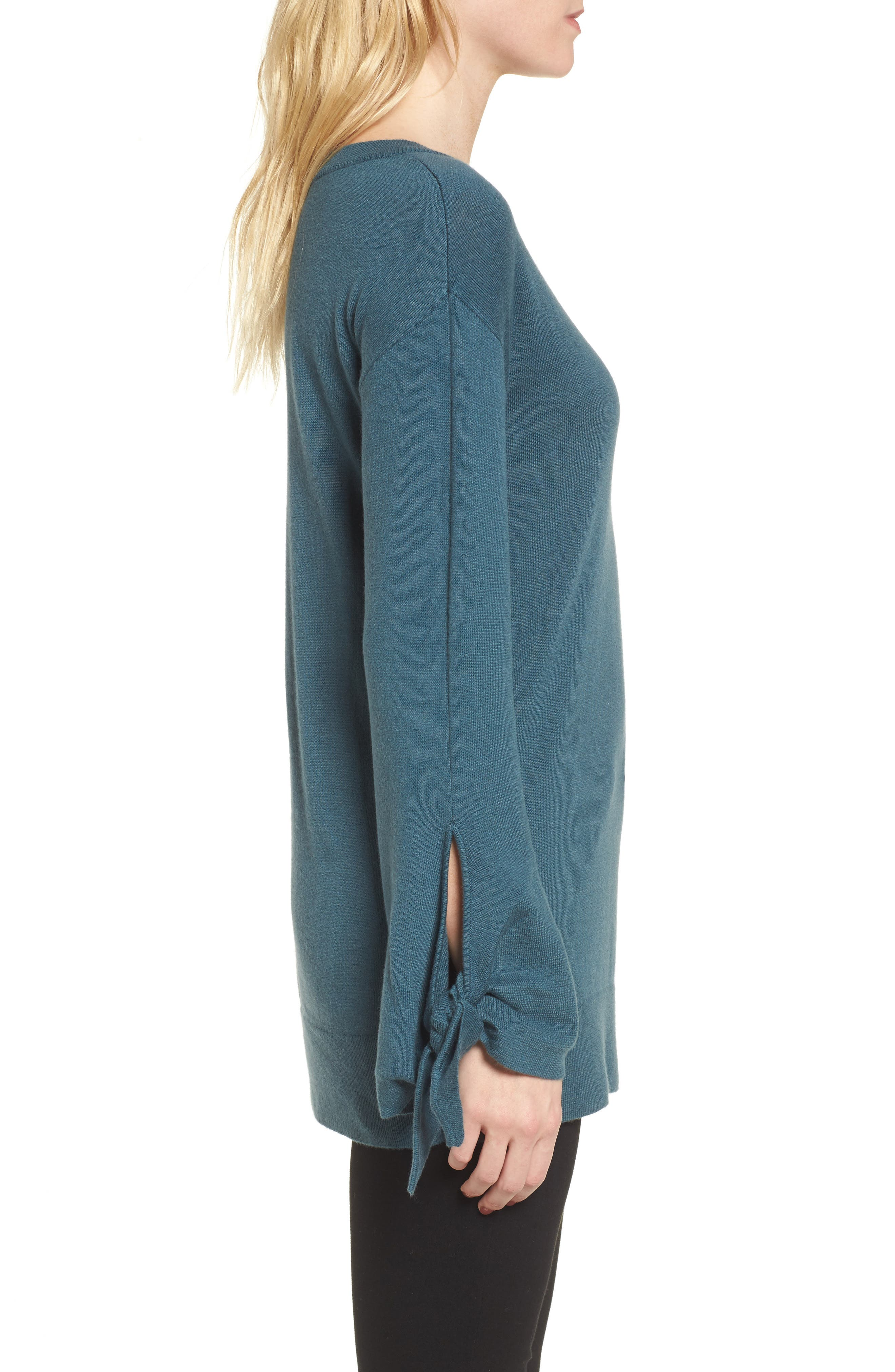 Tie Sleeve Sweater,                             Alternate thumbnail 3, color,                             Teal Gazer