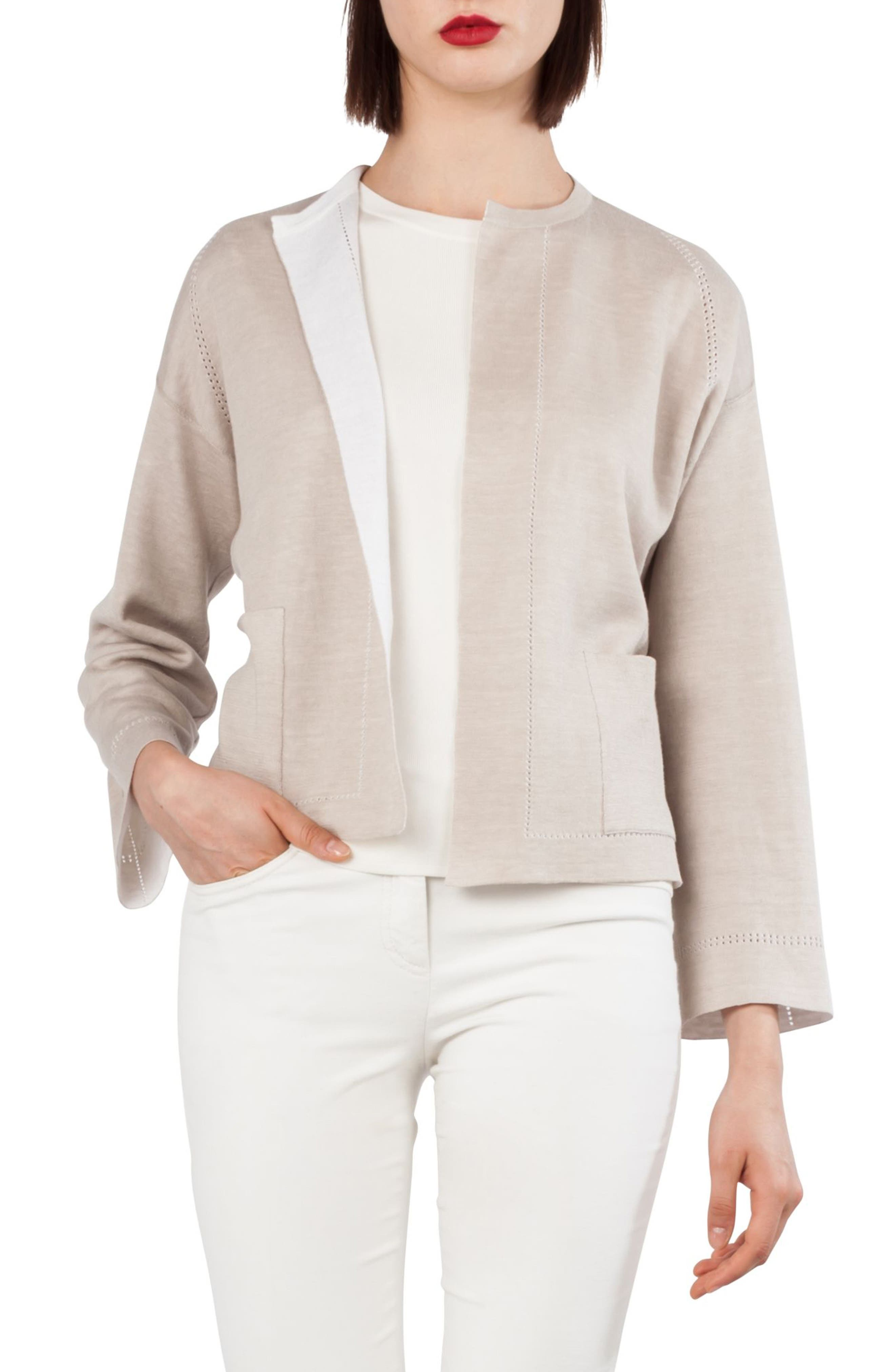 Stretch Silk & Linen Reversible Cardigan,                         Main,                         color, Canvas Paper