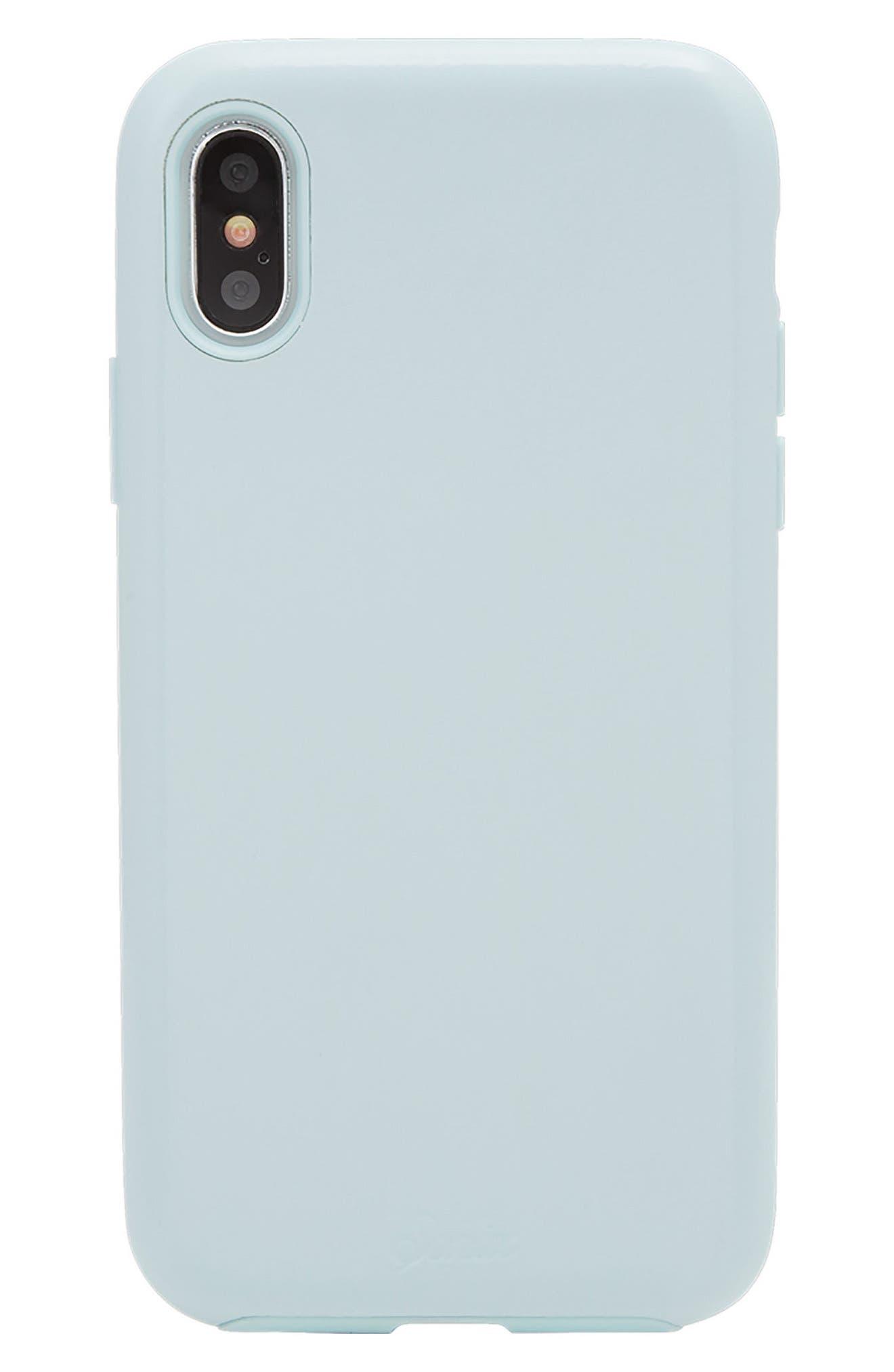 Powder Blue Faux Leather iPhone X Case,                         Main,                         color, Blue