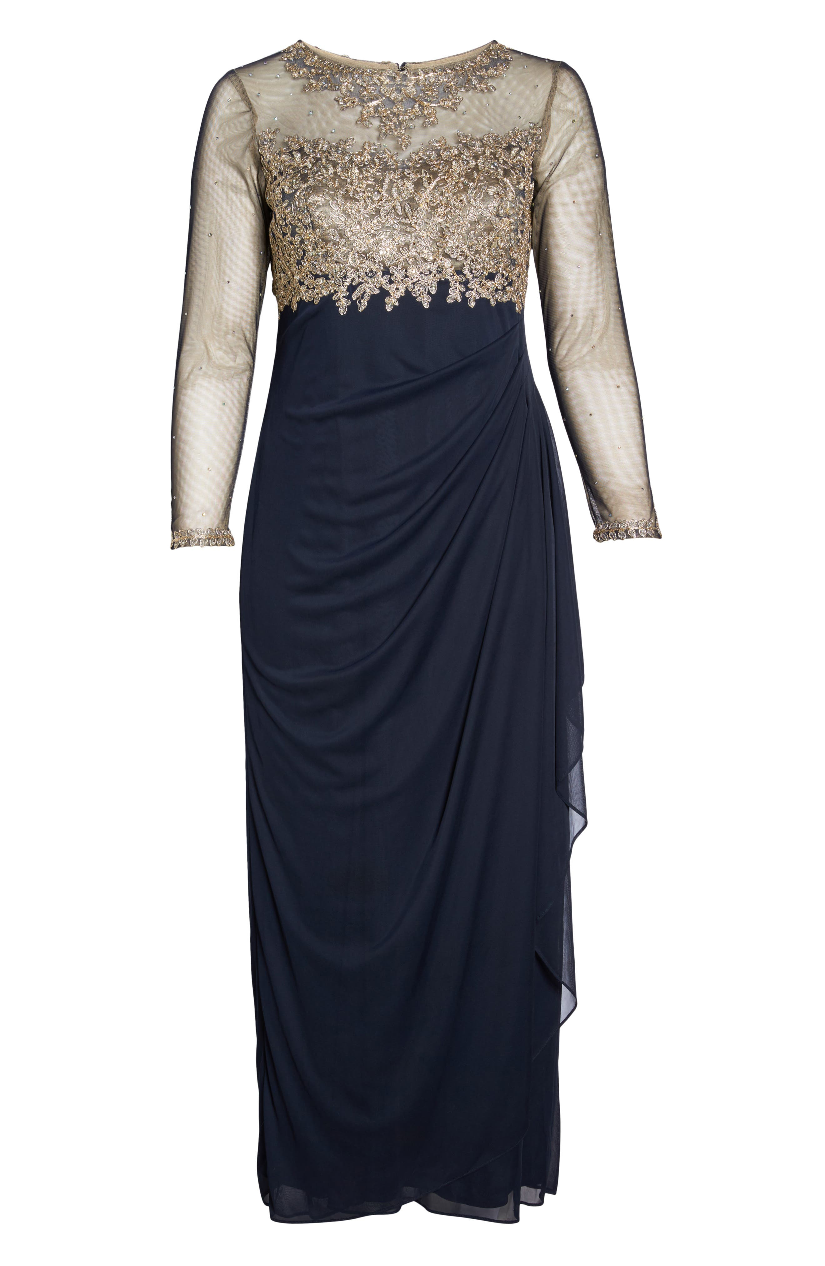 Embellished Mesh & Jersey Gown,                             Alternate thumbnail 6, color,                             Navy/ Gold