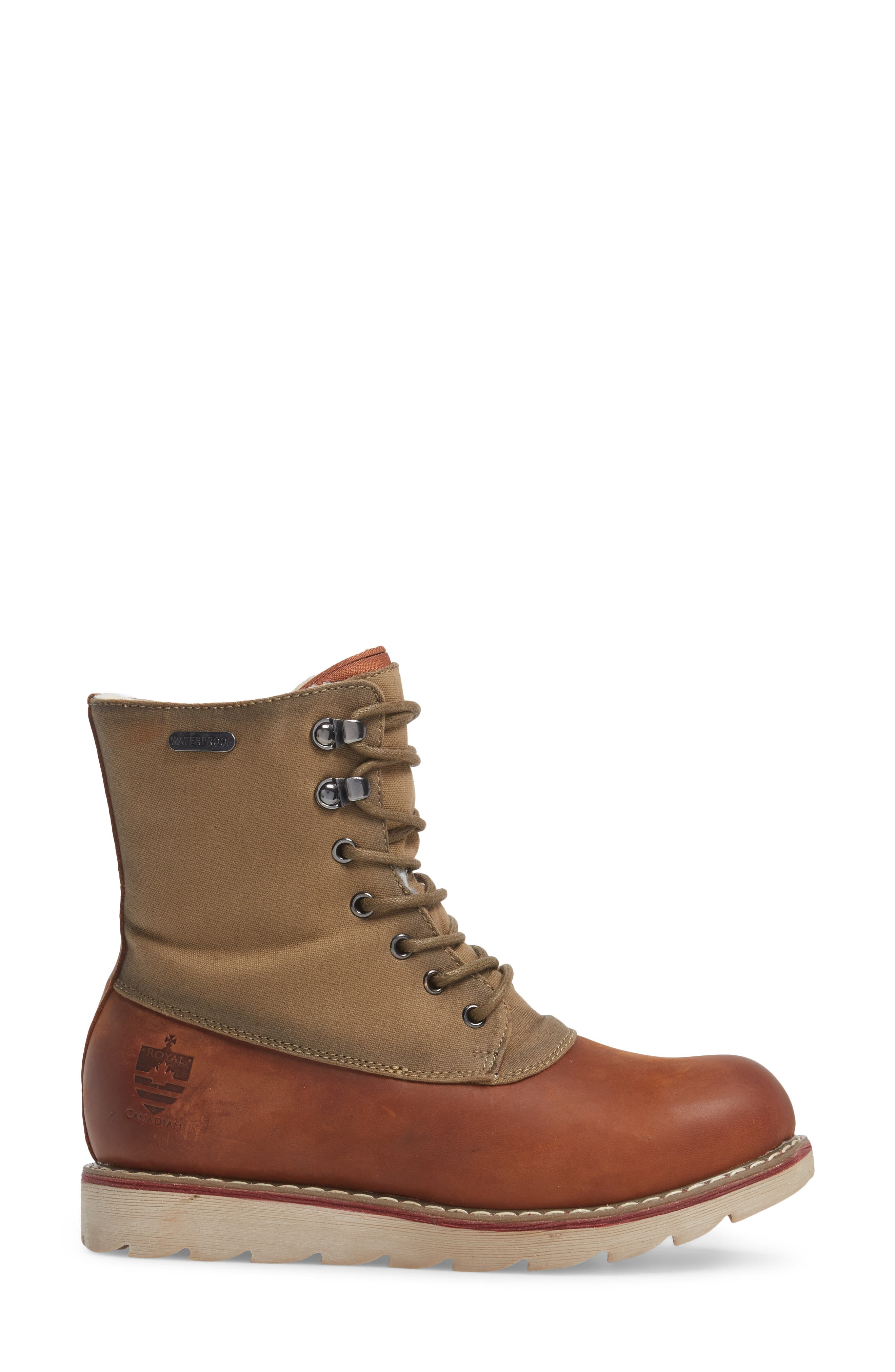 LaSalle Waterproof Insulated Winter Boot,                             Alternate thumbnail 3, color,                             Cognac Leather