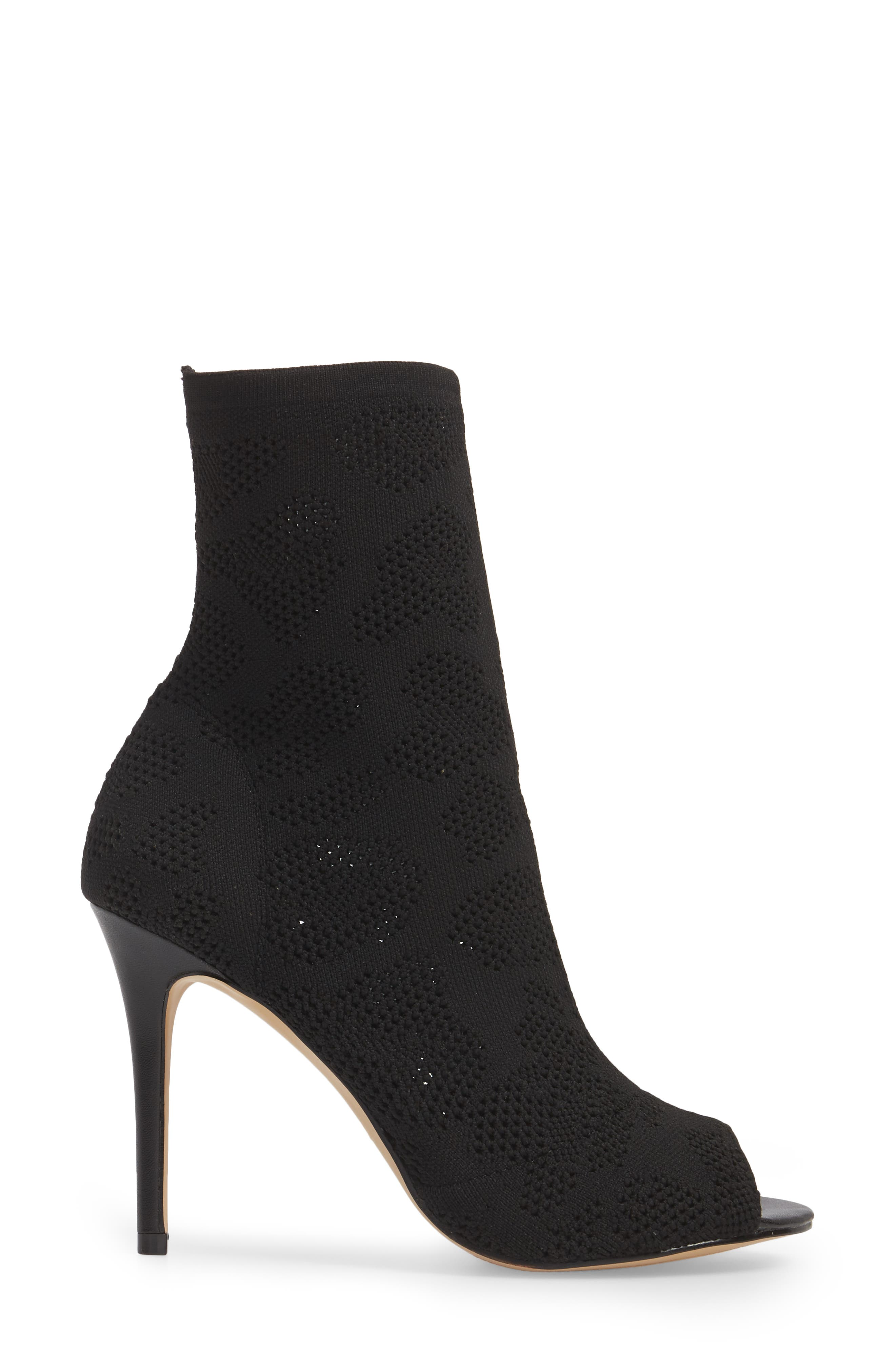Ranger Sock Knit Open Toe Bootie,                             Alternate thumbnail 3, color,                             Black Stretch Fabric