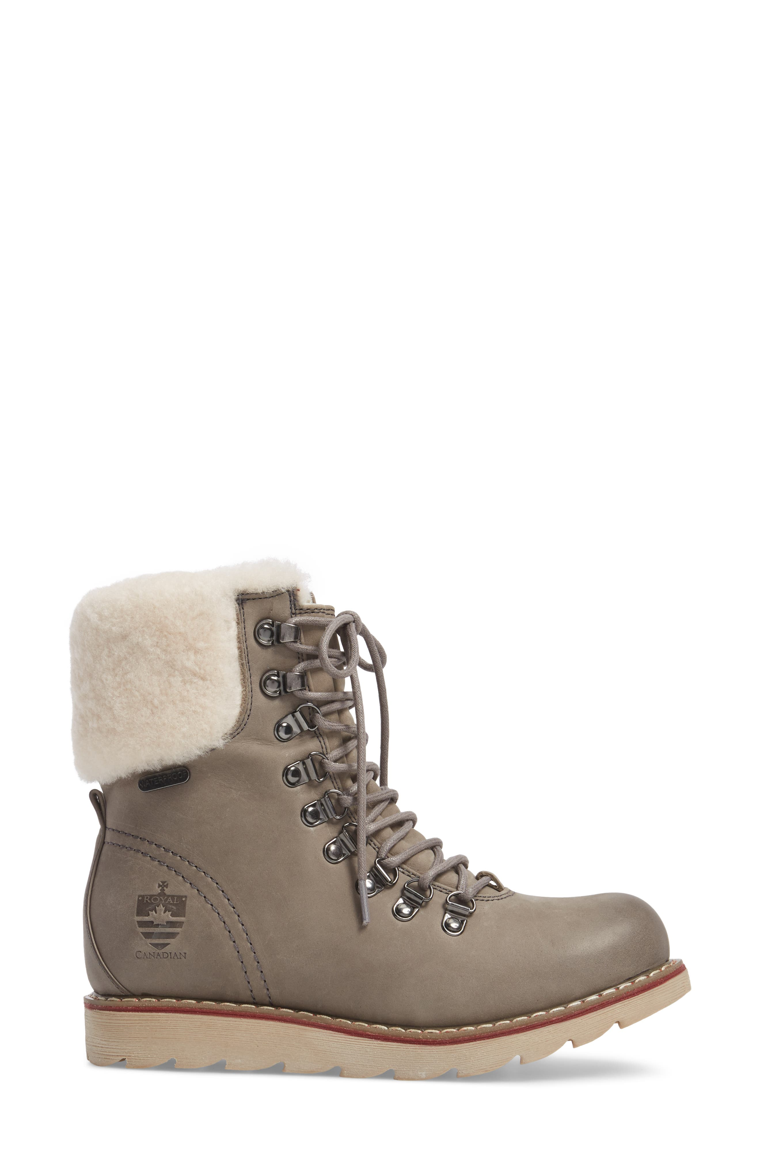 Lethbridge Waterproof Snow Boot with Genuine Shearling Cuff,                             Alternate thumbnail 3, color,                             Grey Leather