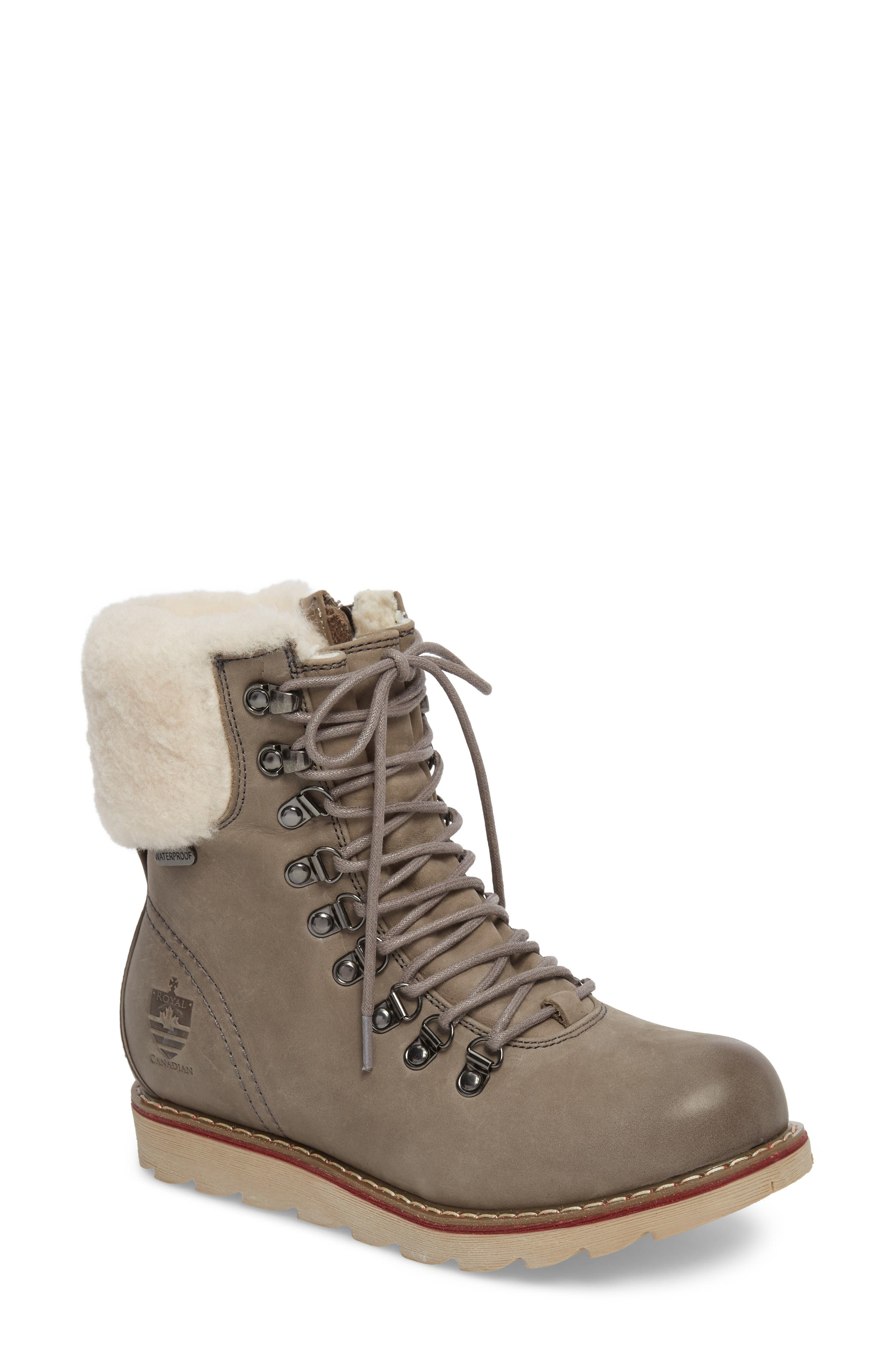 Lethbridge Waterproof Snow Boot with Genuine Shearling Cuff,                             Main thumbnail 1, color,                             Grey Leather