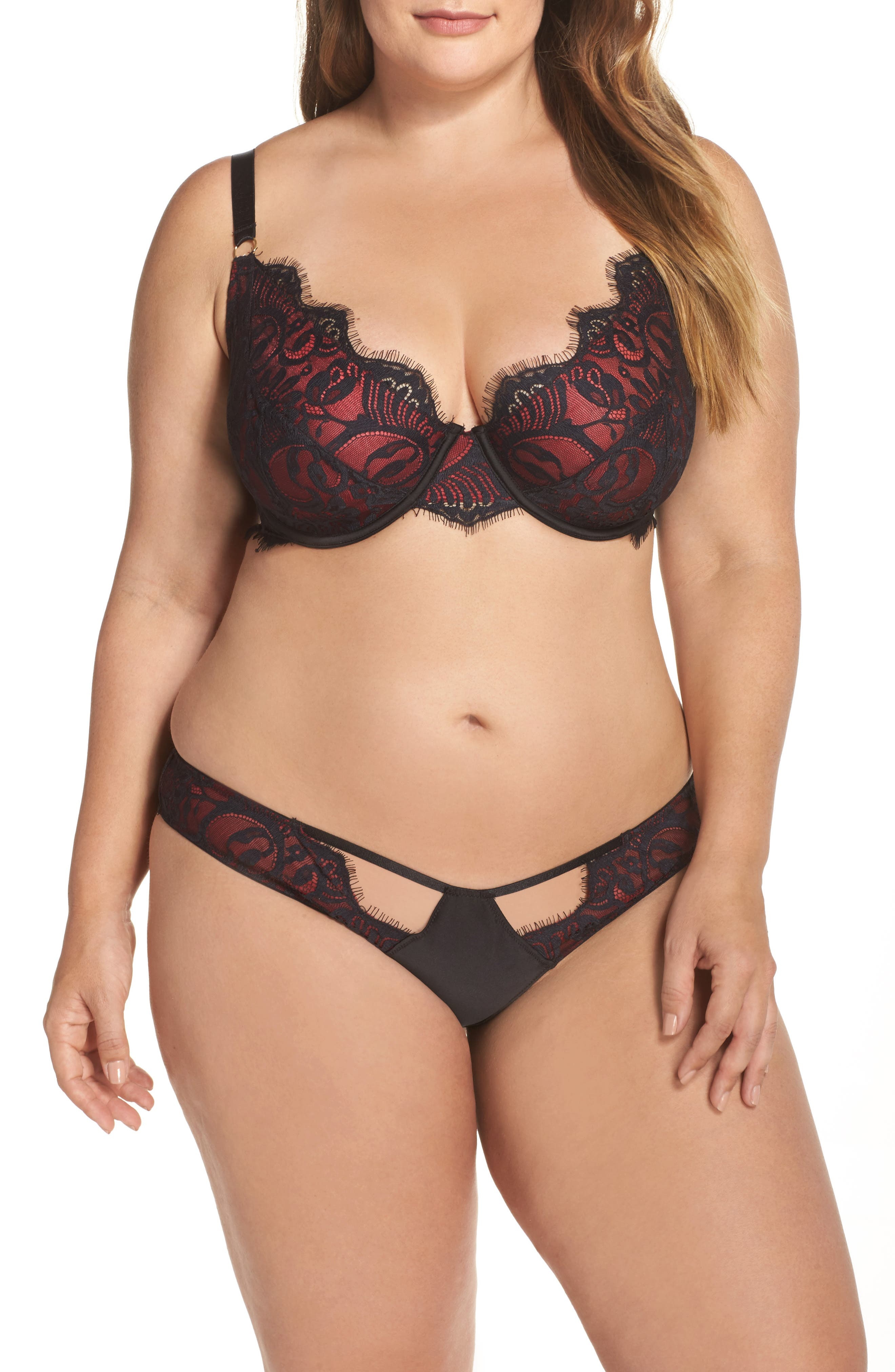 Alternate Image 5  - Playful Promises Bailey Curve Embroidered Underwire Bra (Plus Size)