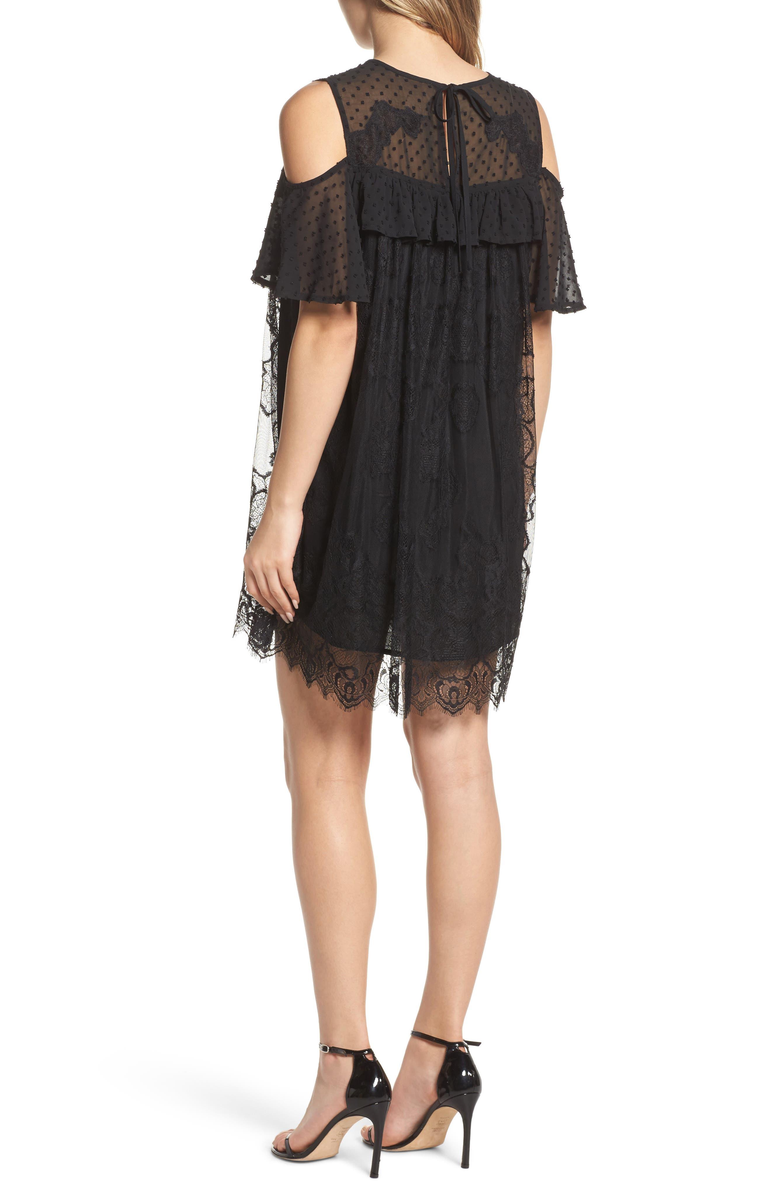 Babette Cold Shoulder Trapeze Dress,                             Alternate thumbnail 2, color,                             Black