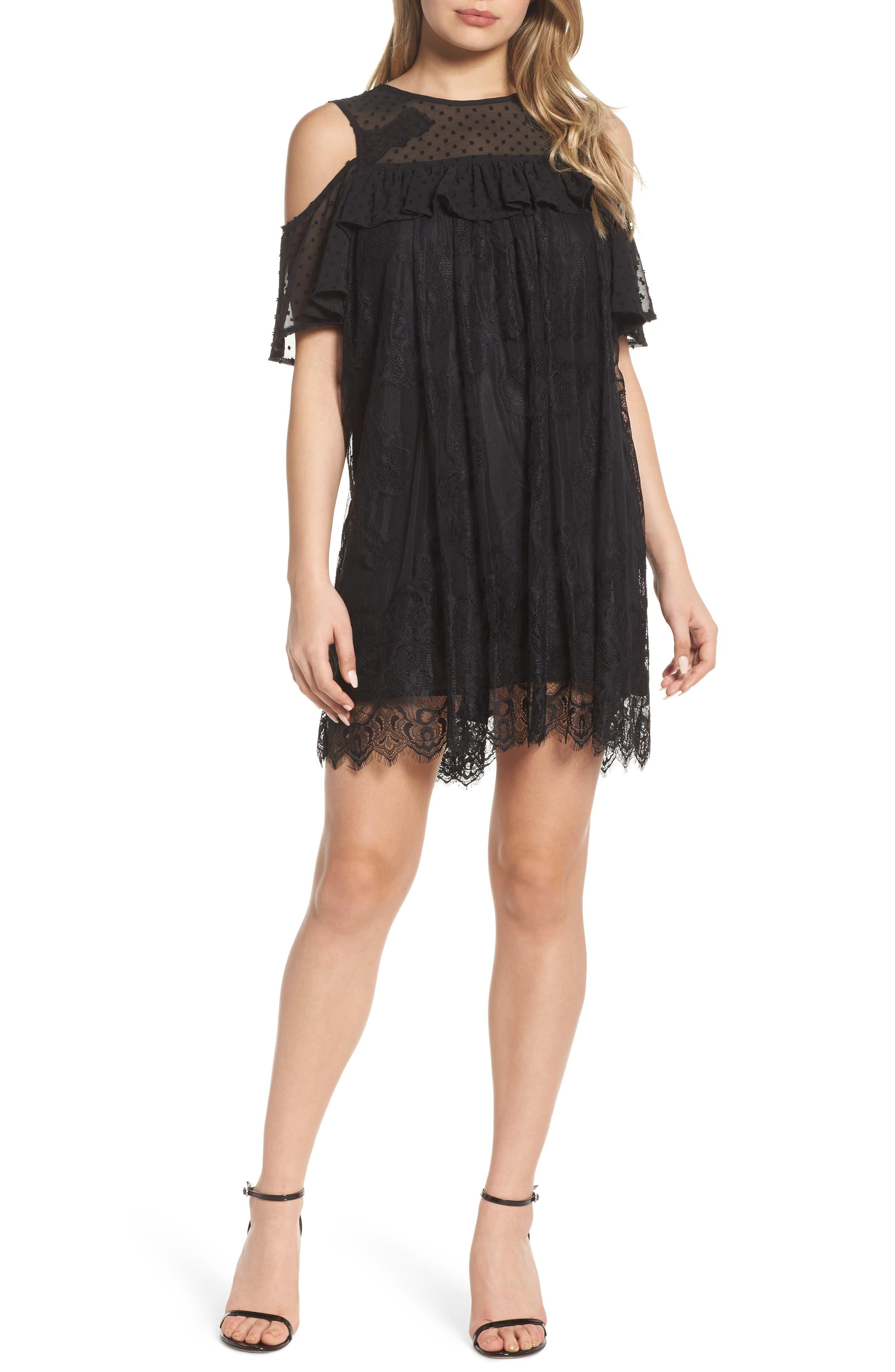 Babette Cold Shoulder Trapeze Dress,                         Main,                         color, Black