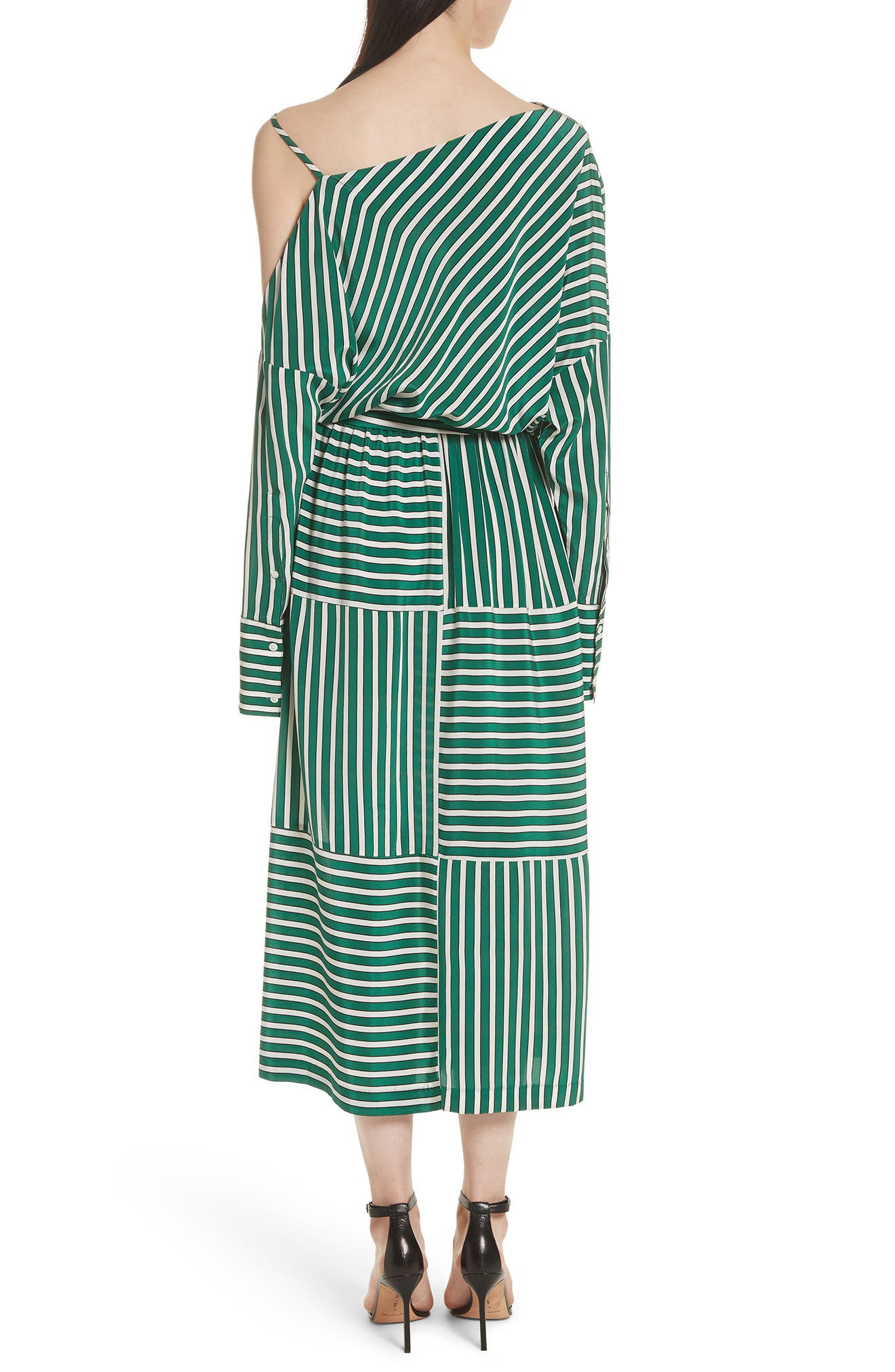 Stripe Silk Cold Shoulder Dress,                             Alternate thumbnail 2, color,                             Large Green Stripe