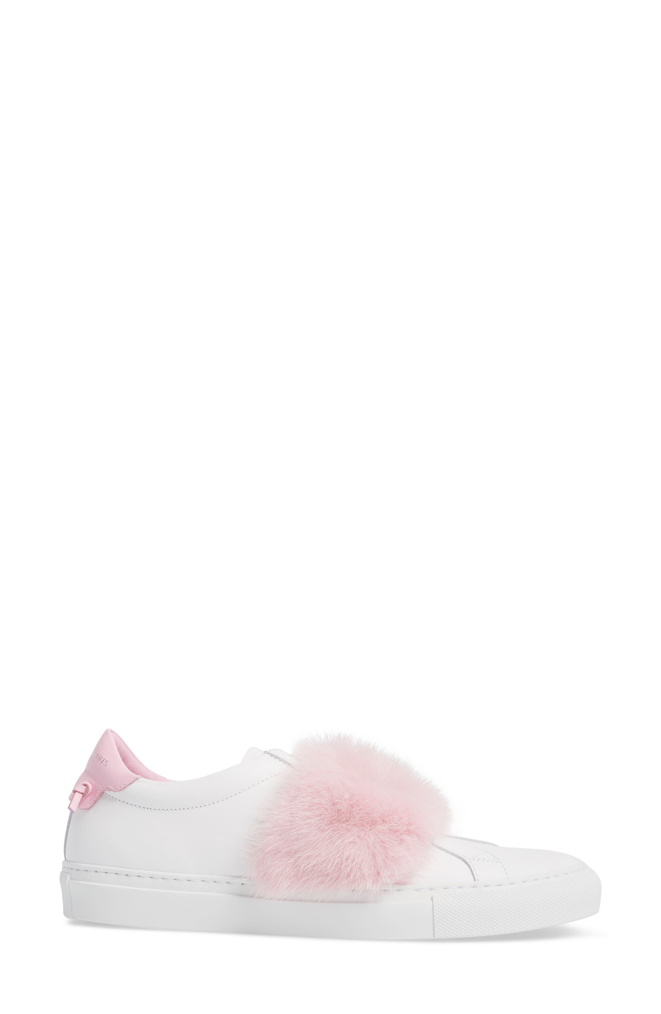 Urban Street Slip-On Sneaker with Genuine Mink Fur Trim,                             Alternate thumbnail 3, color,                             White/ Pink