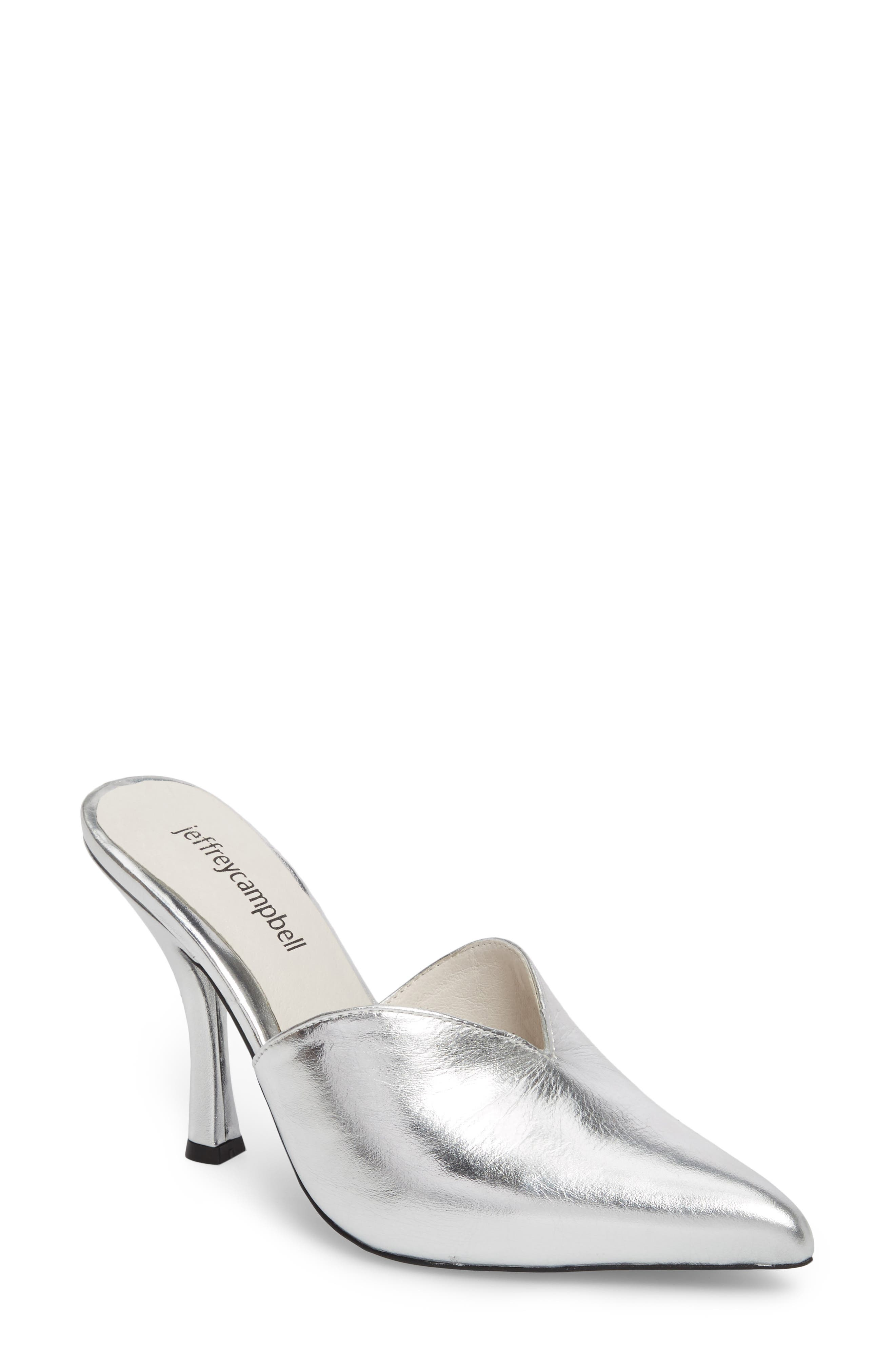 Jodeci Sweetheart Mule Pump,                             Main thumbnail 1, color,                             Silver Leather