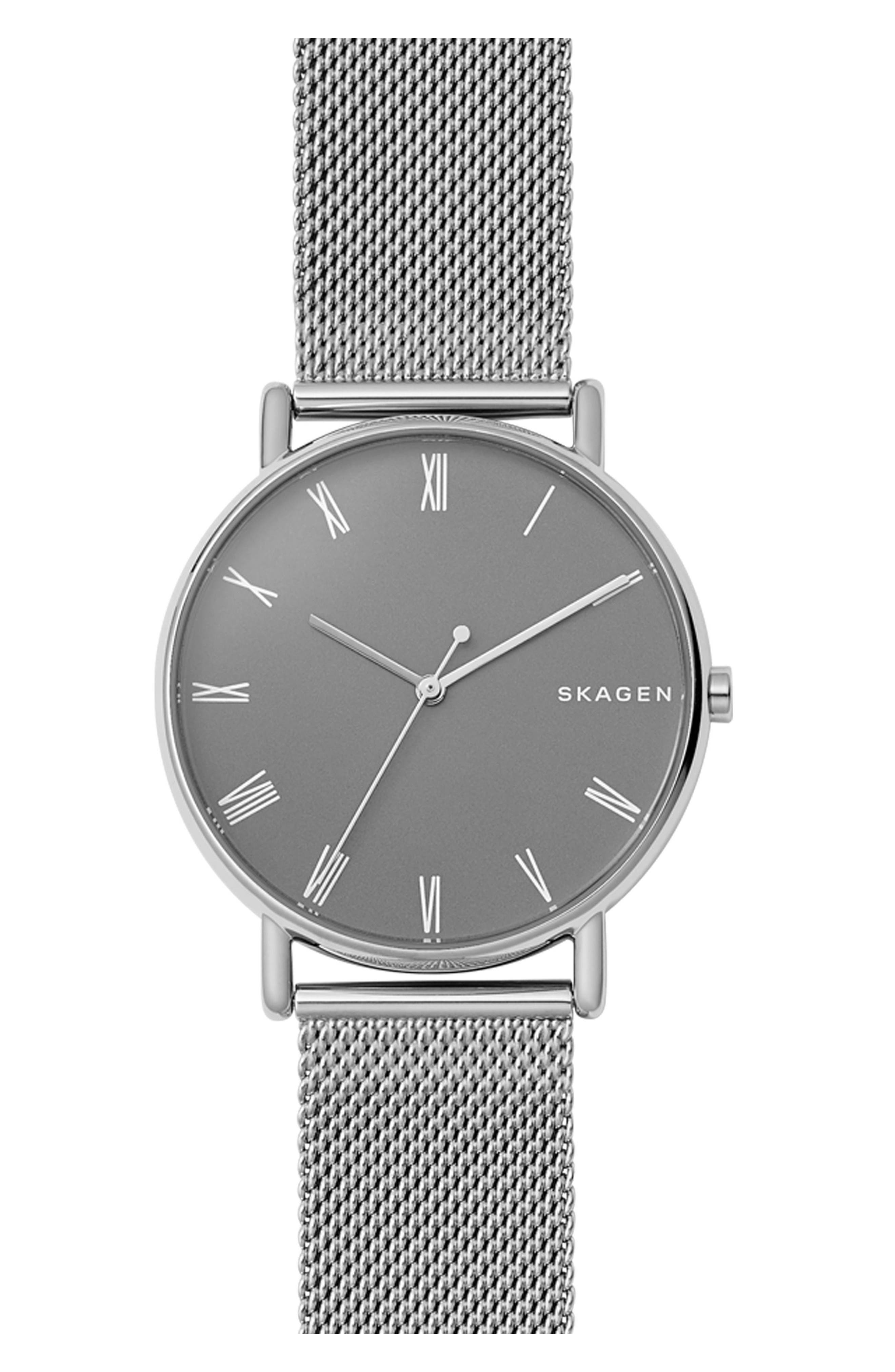 Signatur Mesh Strap Watch, 40mm,                         Main,                         color, Silver/ Grey/ Silver