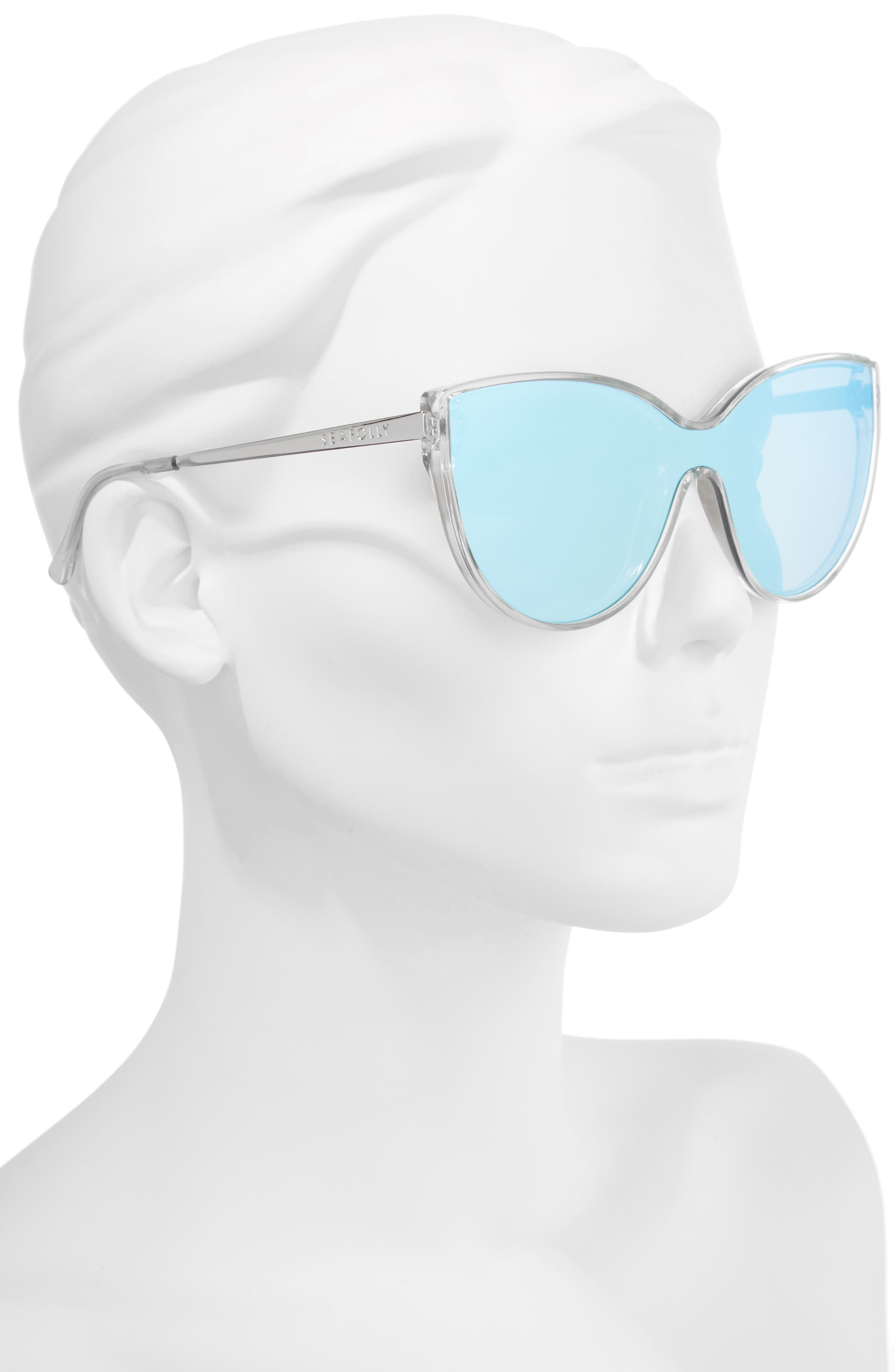 Tortola 60mm Cat Eye Sunglasses,                             Alternate thumbnail 2, color,                             Clear