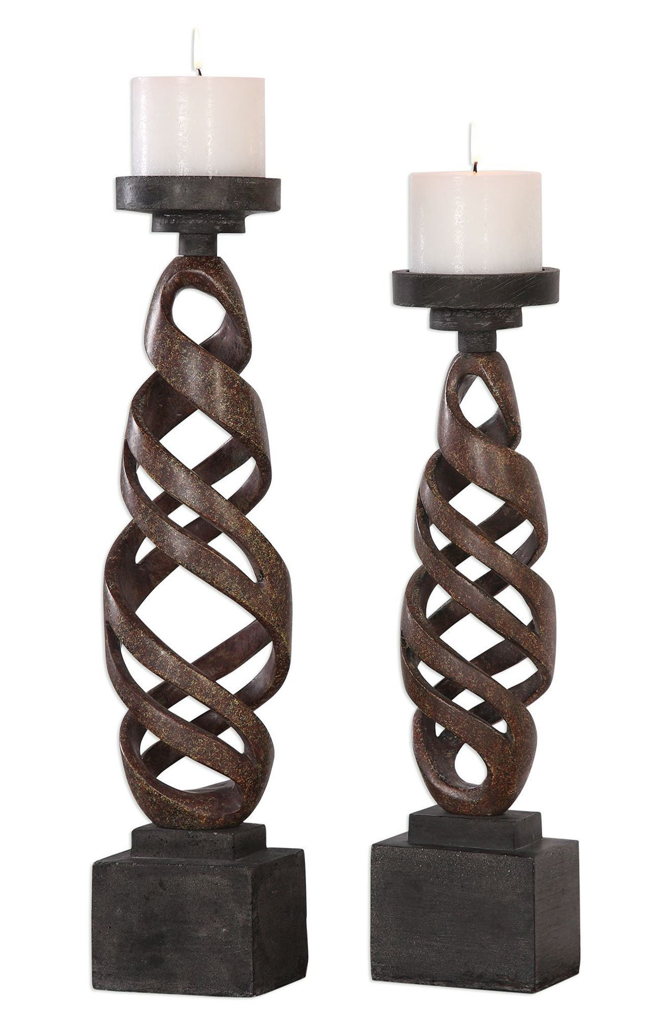 Abrose Set of 2 Candleholders,                             Main thumbnail 1, color,                             Brown