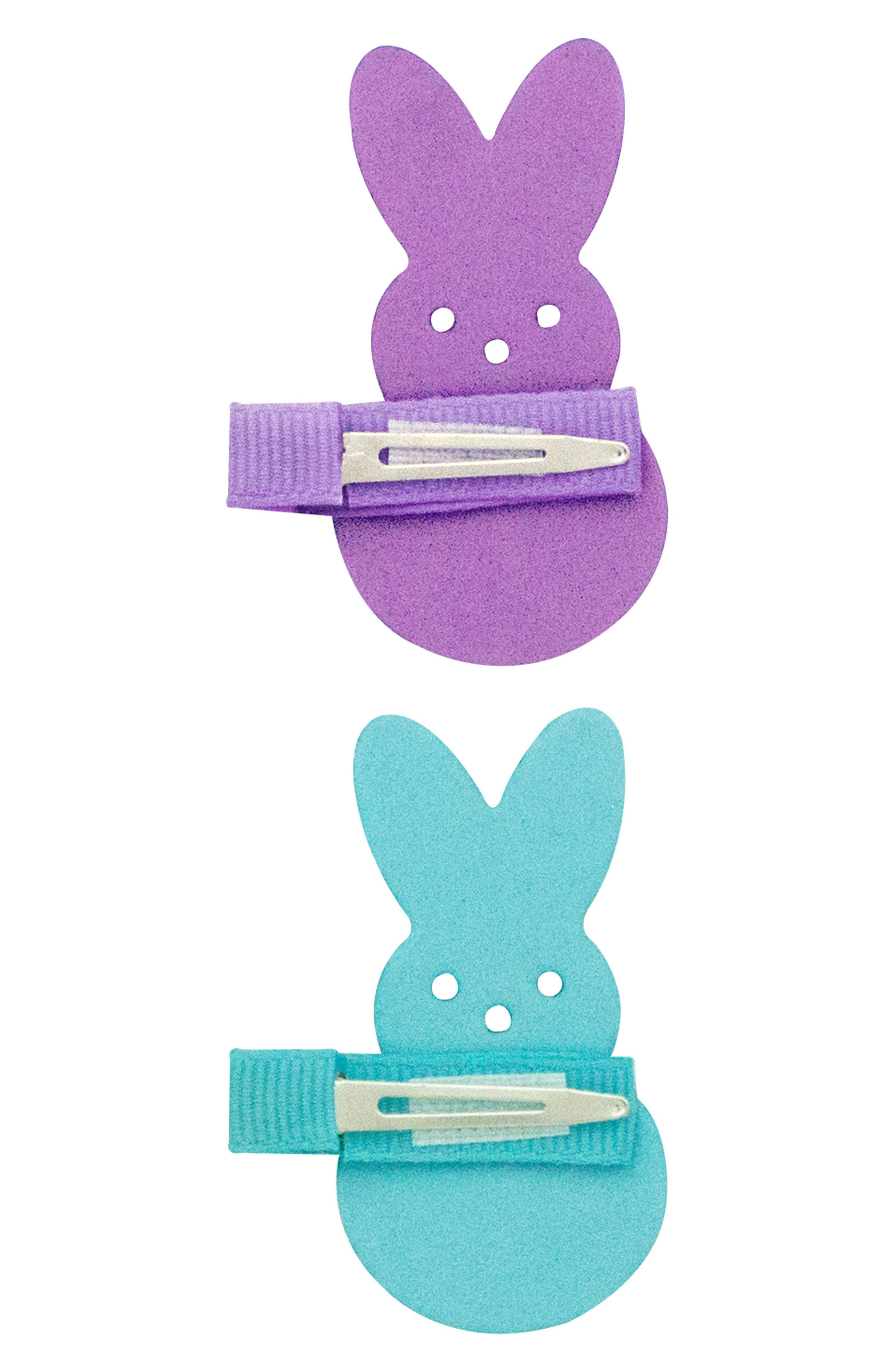 Alternate Image 2  - PLH Bows & Laces 2-Pack Bunny Clips (Baby Girls)