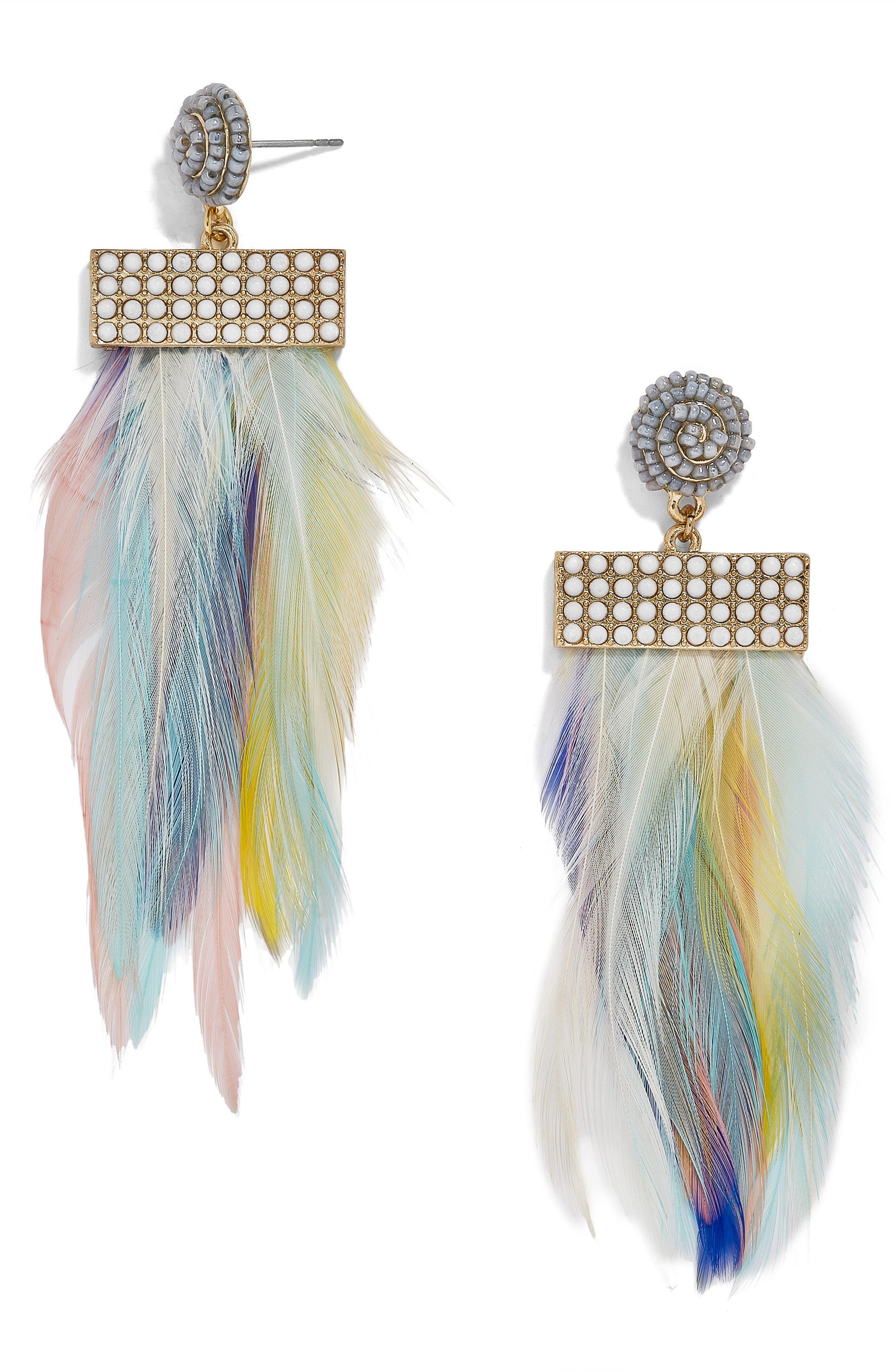 Main Image - BaubleBar Fluoro Feather Drop Earrings