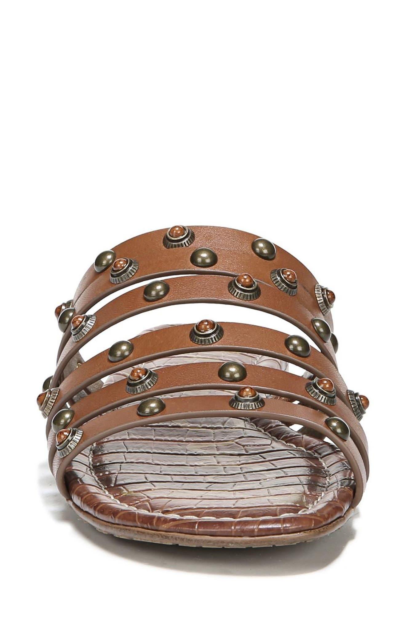 Brea Studded Slide Sandal,                             Alternate thumbnail 4, color,                             Luggage Leather