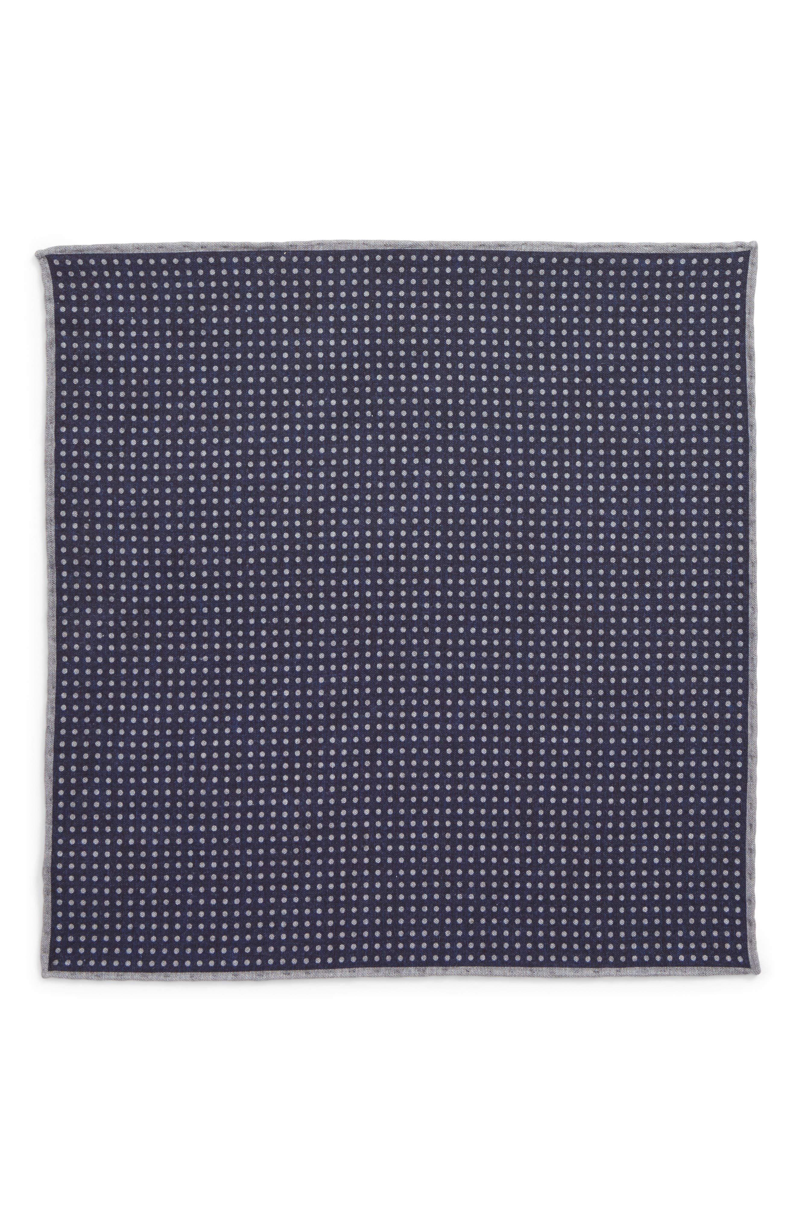 Dot Wool & Cotton Pocket Square,                             Alternate thumbnail 2, color,                             Navy