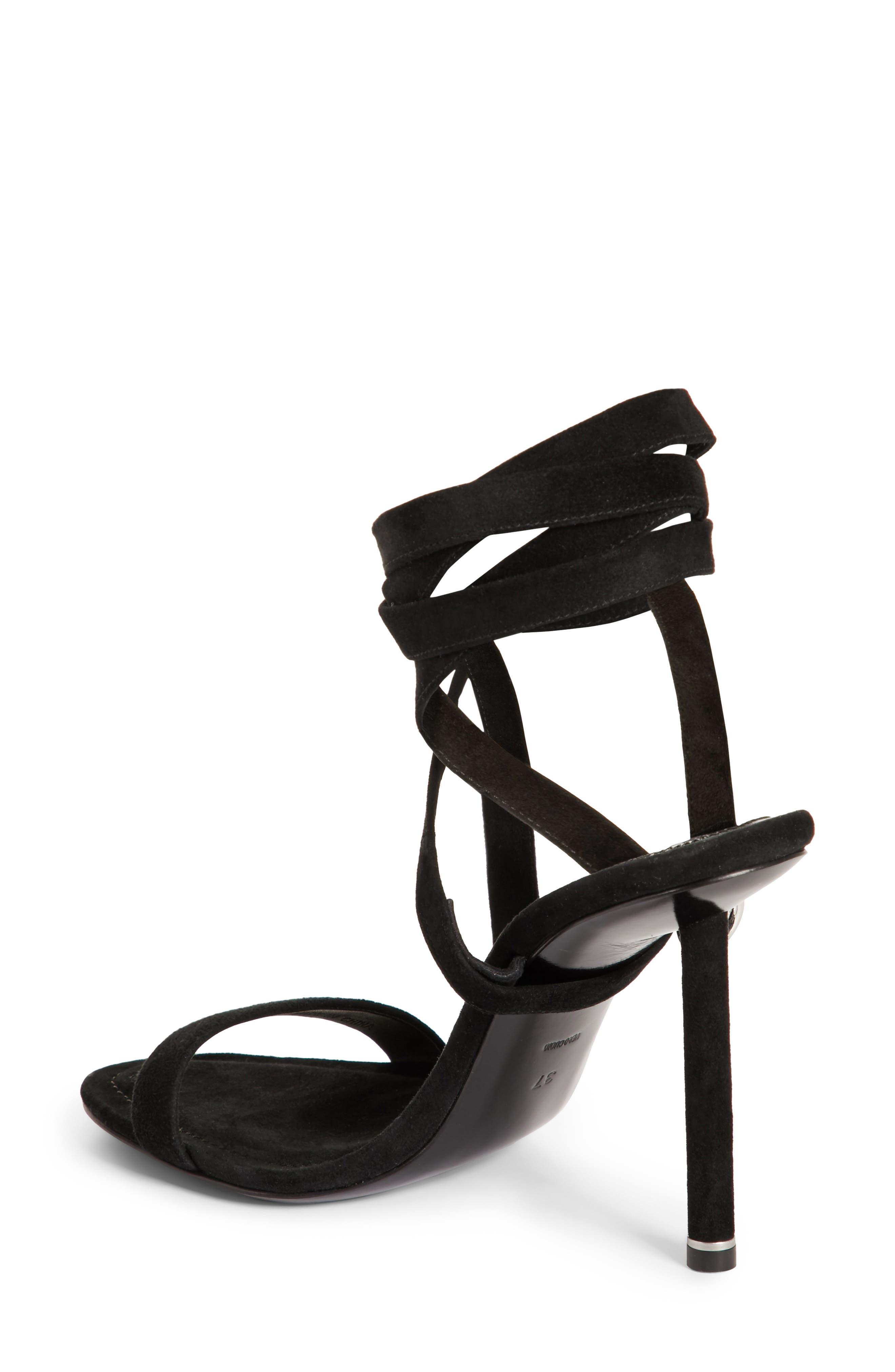 Evie Ankle Tie Sandal,                             Alternate thumbnail 2, color,                             Black