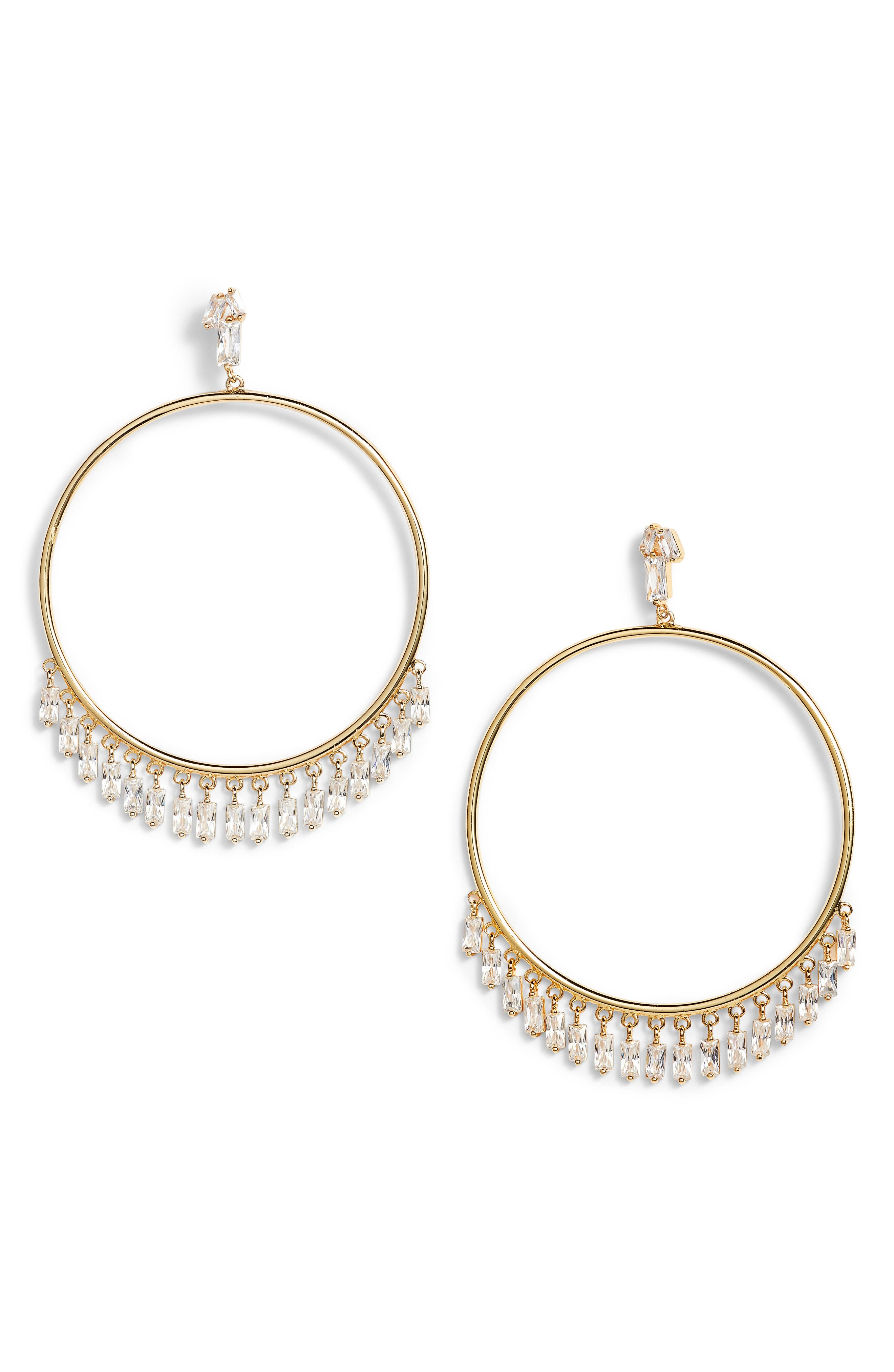 Amara Frontal Hoop Earrrings,                         Main,                         color, Gold