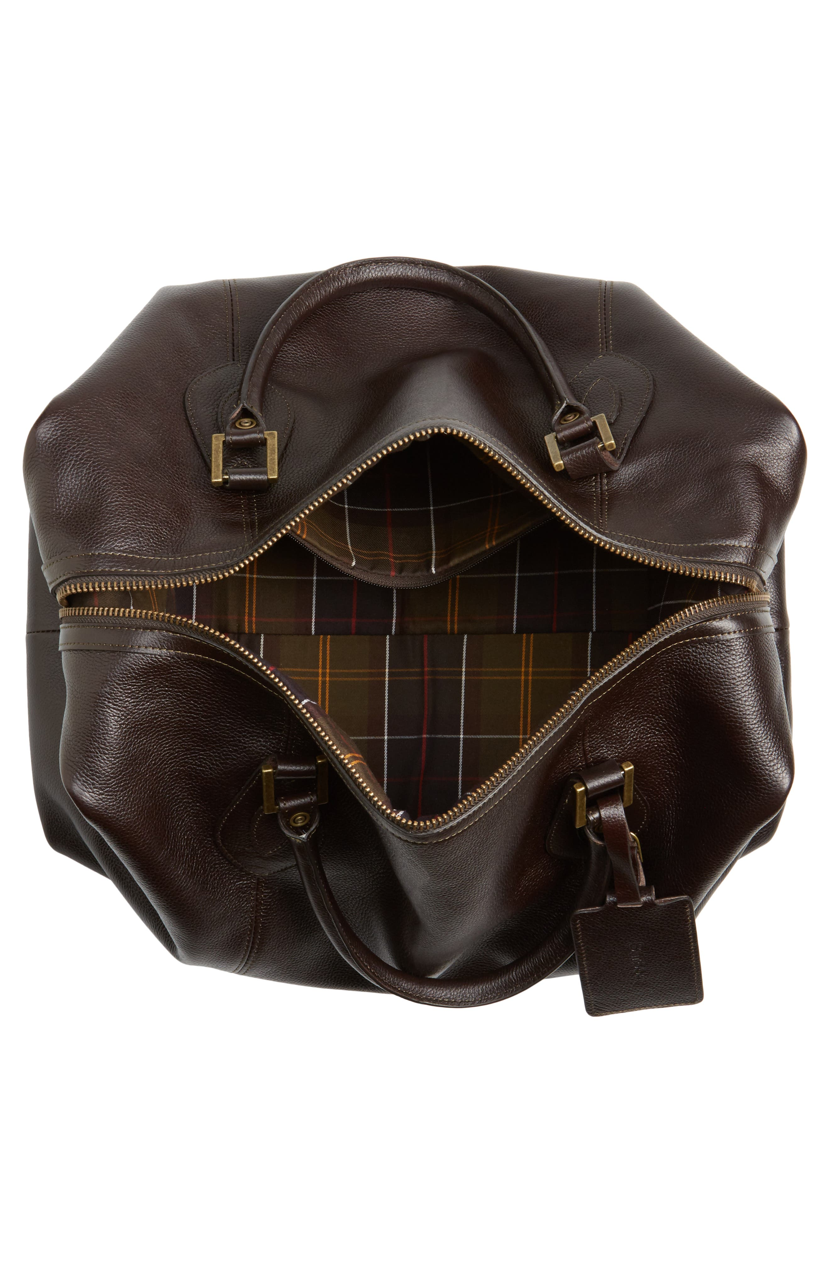 Leather Travel Bag,                             Alternate thumbnail 4, color,                             Chocolate