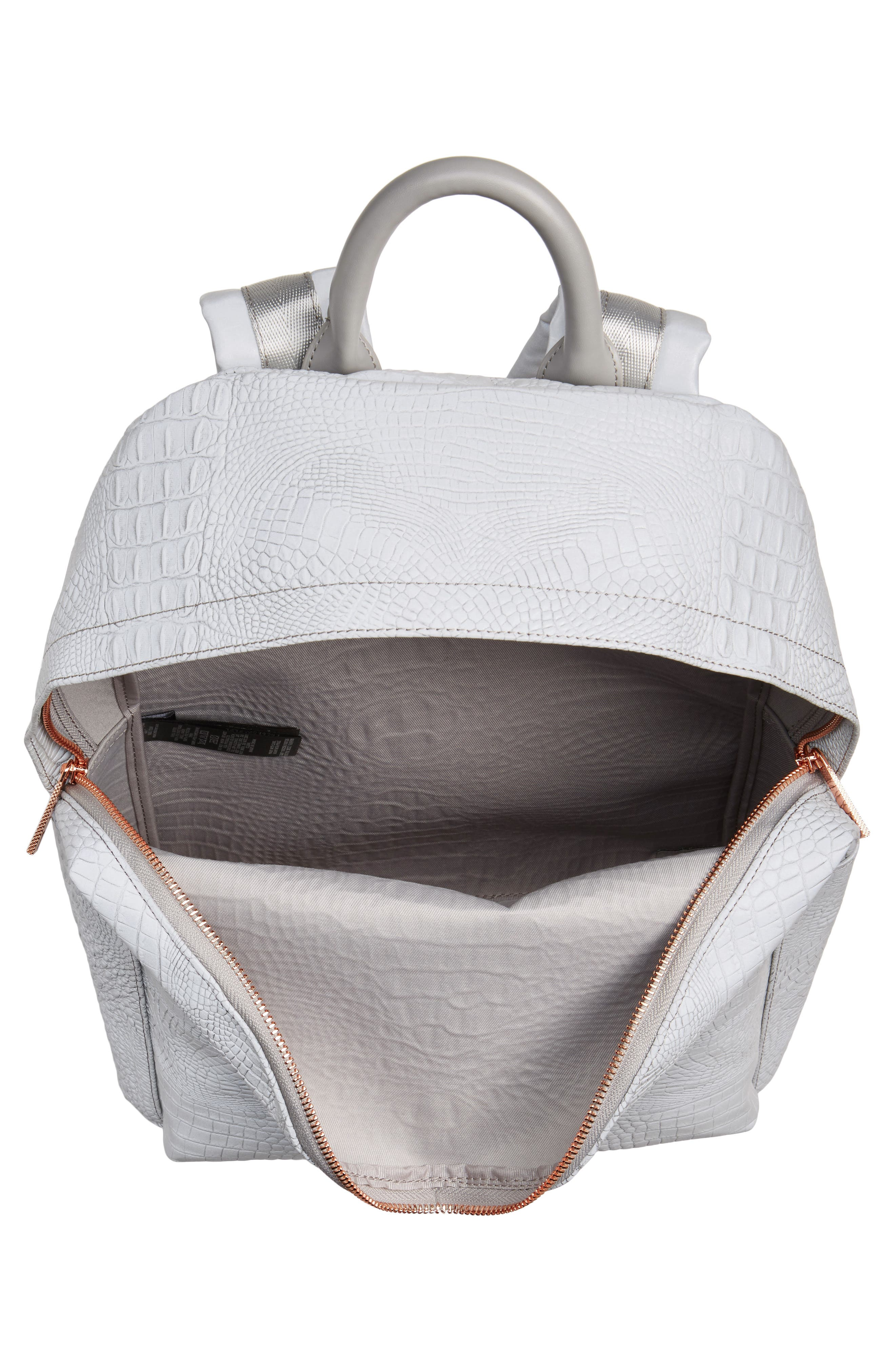 Alternate Image 4  - Ted Baker London Rahri Reflective Croc Embossed Faux Leather Backpack