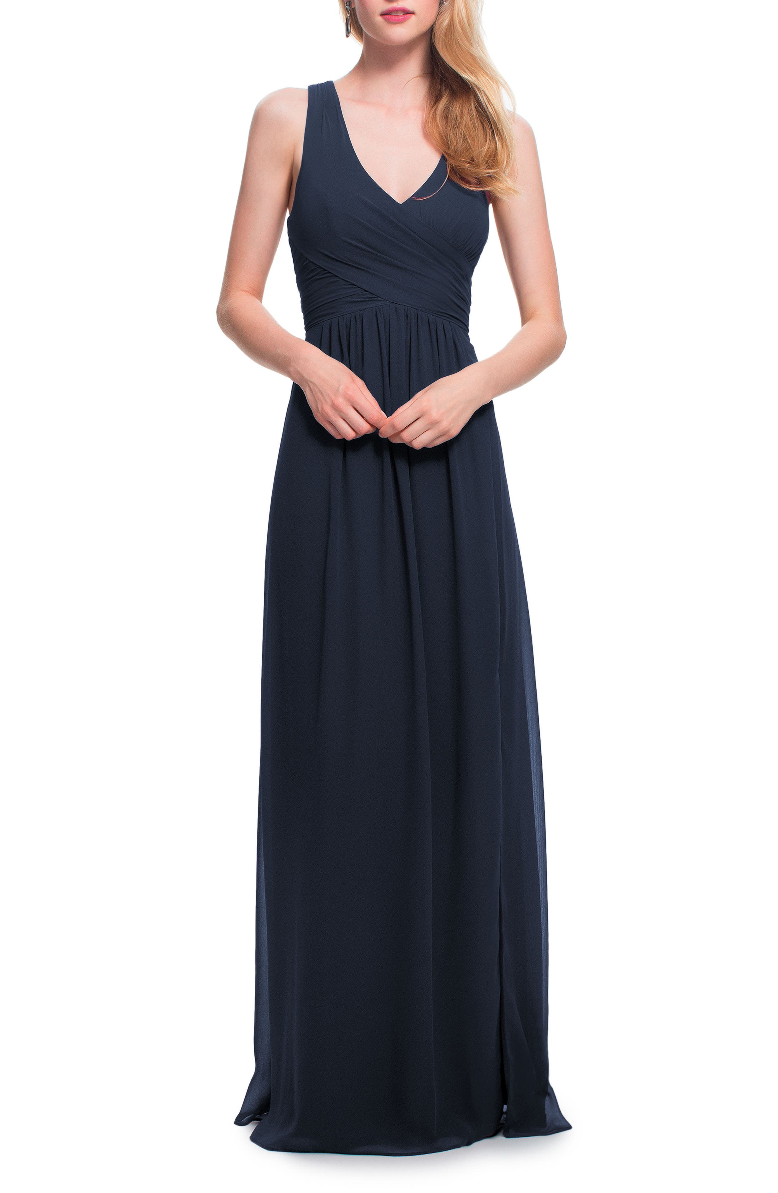 Alternate Image 1 Selected - #Levkoff Back Cutout Chiffon Gown