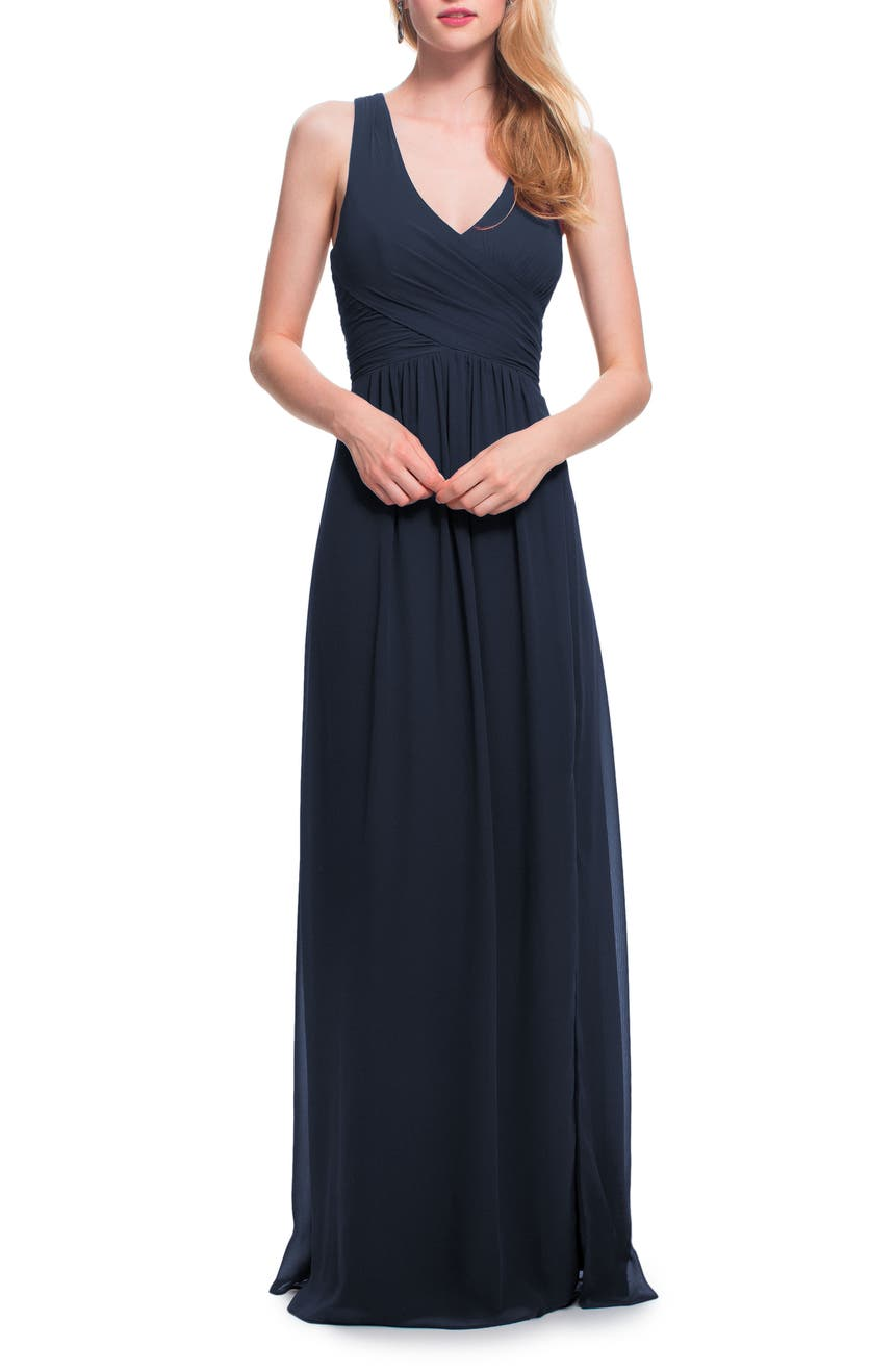 Bridesmaid wedding party dresses nordstrom levkoff back cutout chiffon gown navy plum wine ombrellifo Gallery