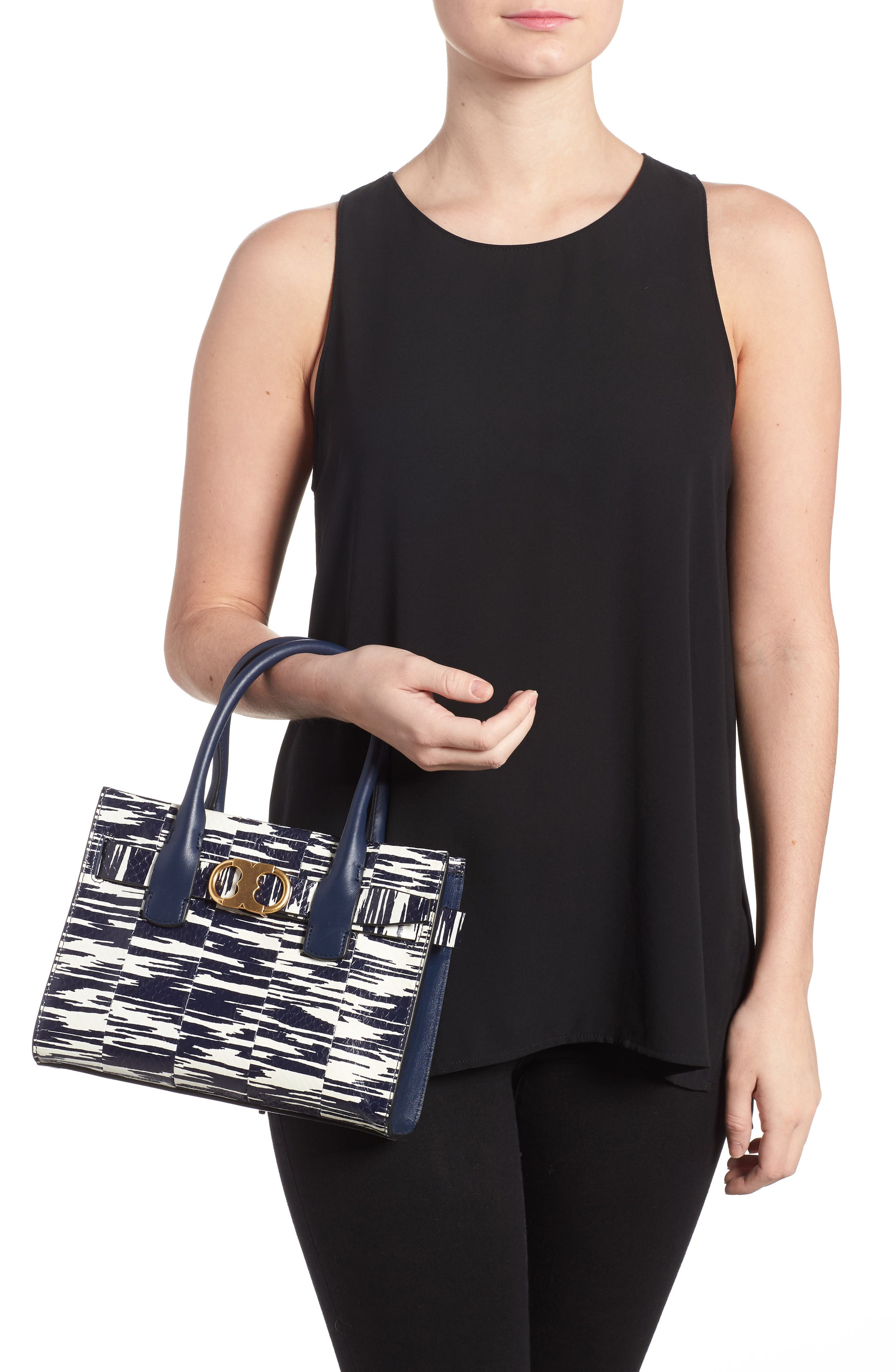 Small Gemini Link Space Dye Genuine Snakeskin Tote,                             Alternate thumbnail 2, color,                             Navy Space Dye